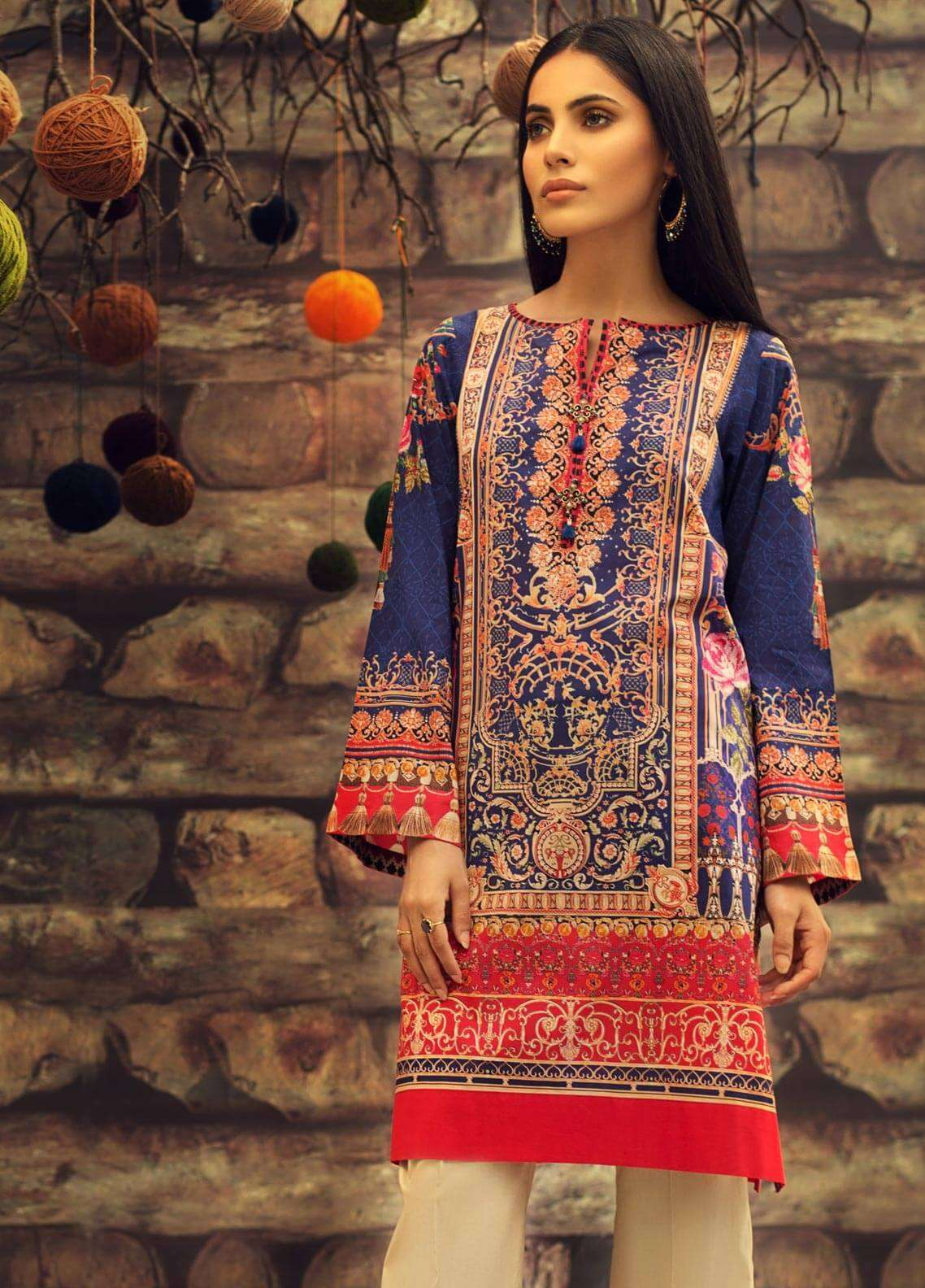 LimeLight Printed Cambric Unstitched Kurties VICTORIAN TALE (BLUE) - Cambric Collection