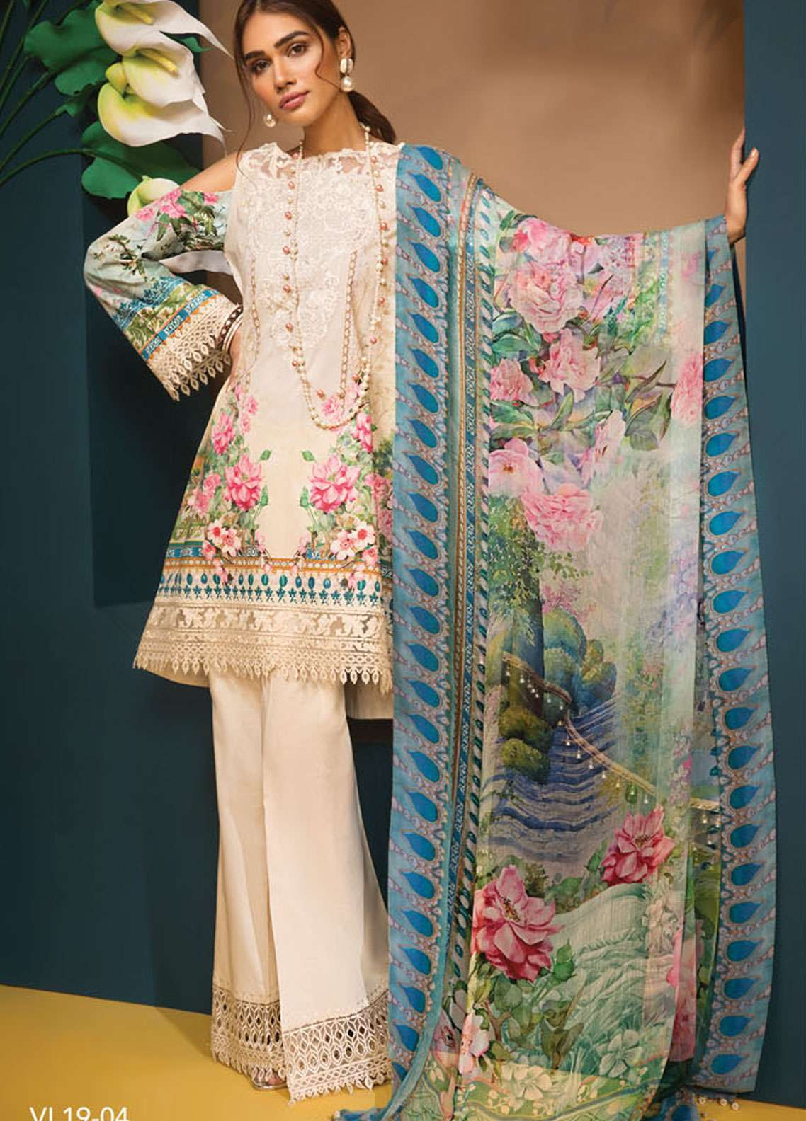 Anaya By Kiran Chaudhry Embroidered Lawn Unstitched 3 Piece Suit AKC19VL 04 ROSA - Spring / Summer Collection