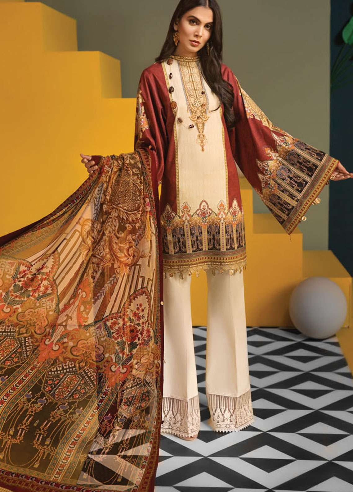 Anaya By Kiran Chaudhry Embroidered Lawn Unstitched 3 Piece Suit AKC19VL 10 AMELIA - Spring / Summer Collection