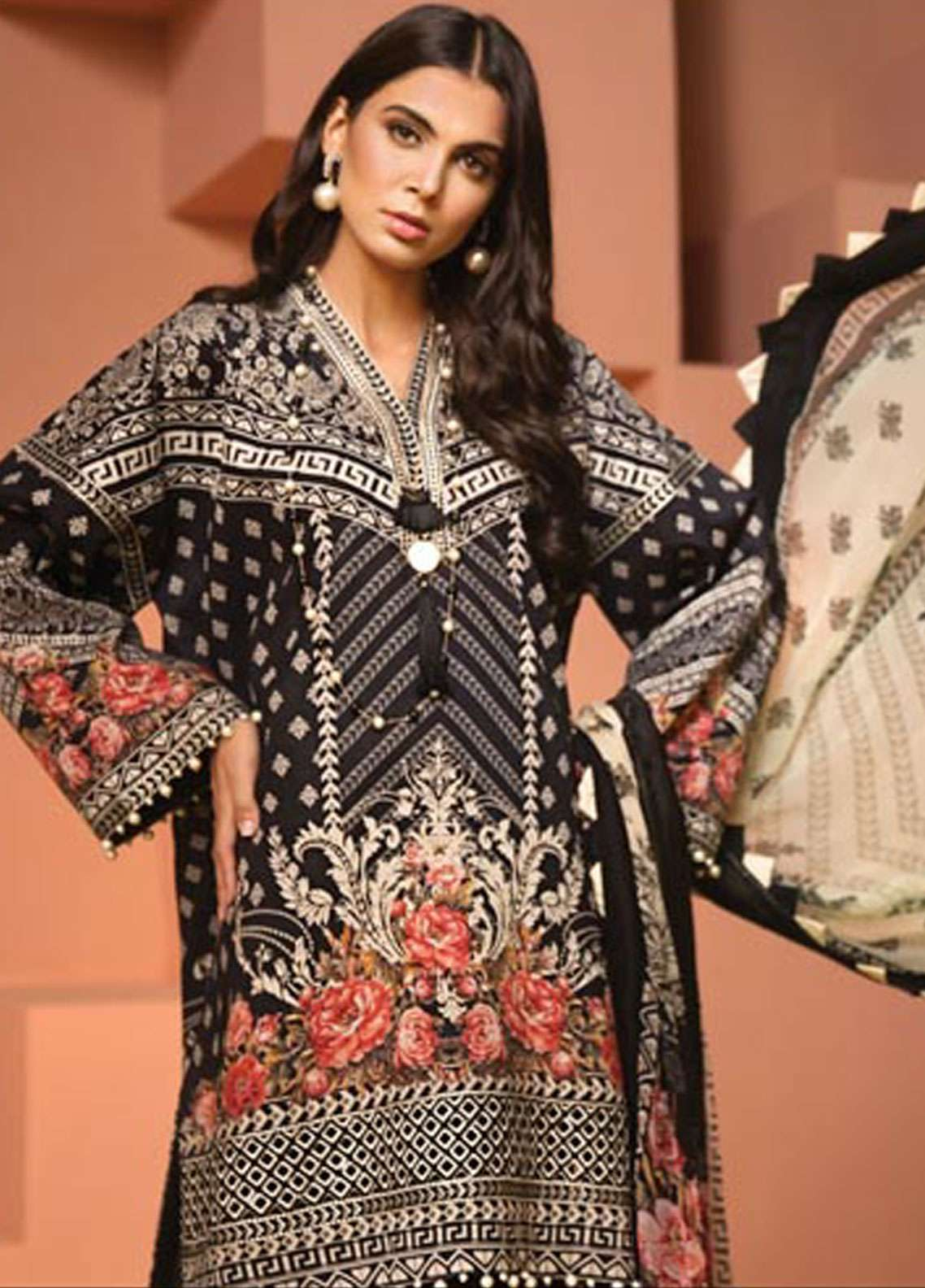 Anaya By Kiran Chaudhry Embroidered Lawn Unstitched 3 Piece Suit AKC19VL 11 ELVIRA - Spring / Summer Collection