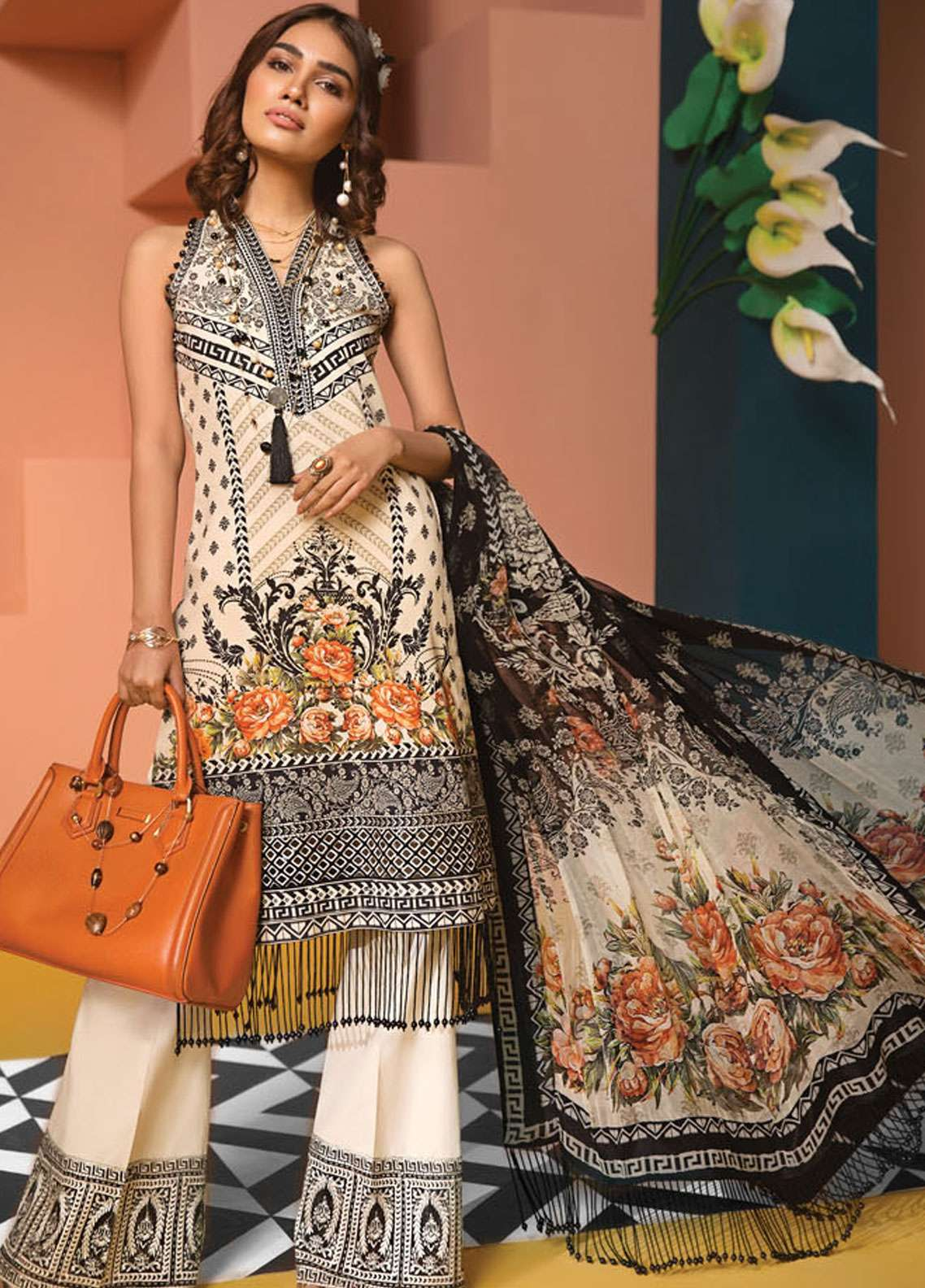 Anaya By Kiran Chaudhry Embroidered Lawn Unstitched 3 Piece Suit AKC19VL 12 PRICILLA - Spring / Summer Collection