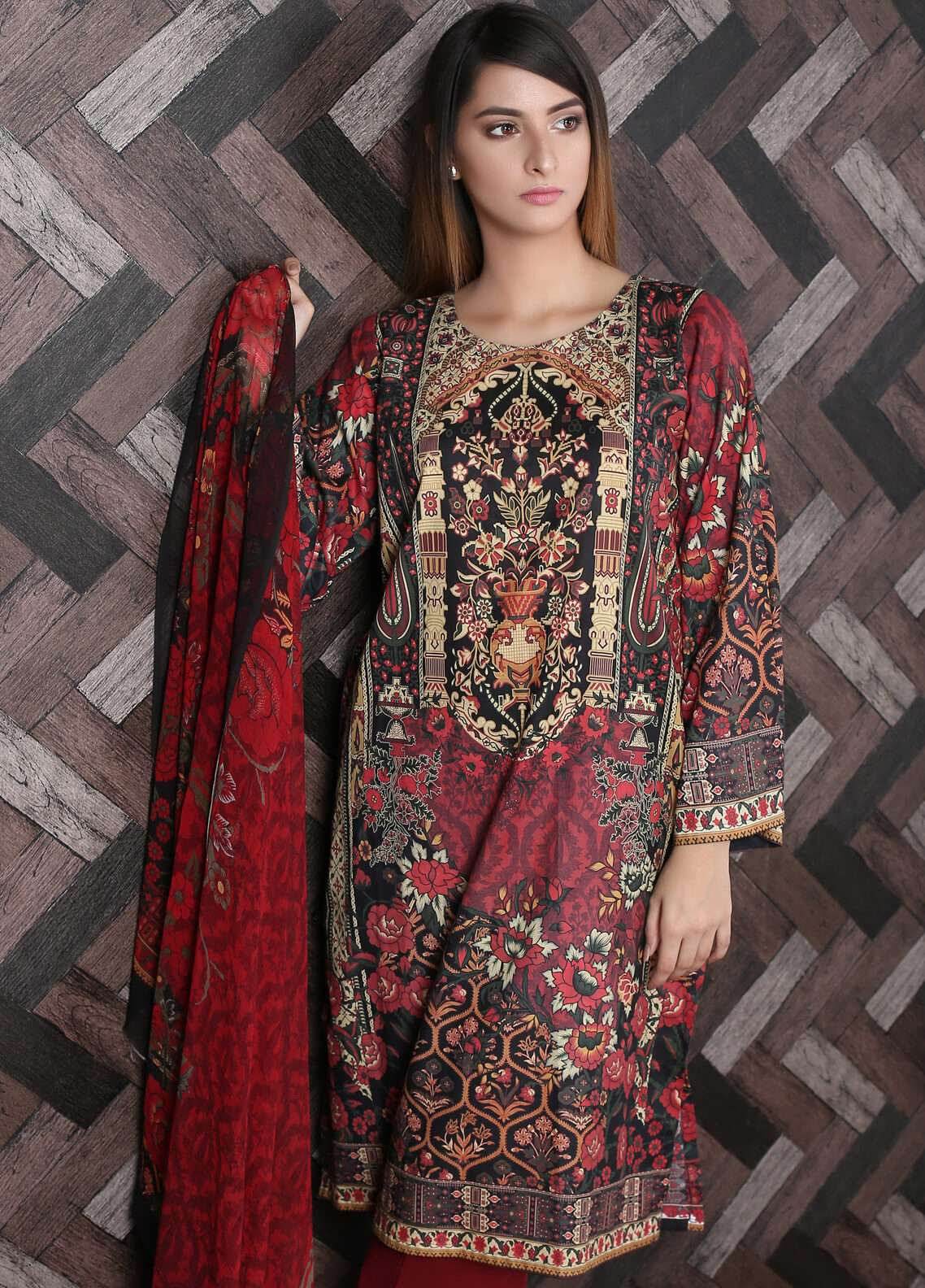 Waniya Printed Lawn Unstitched 2 Piece Suit UNS-173 - Spring / Summer Collection