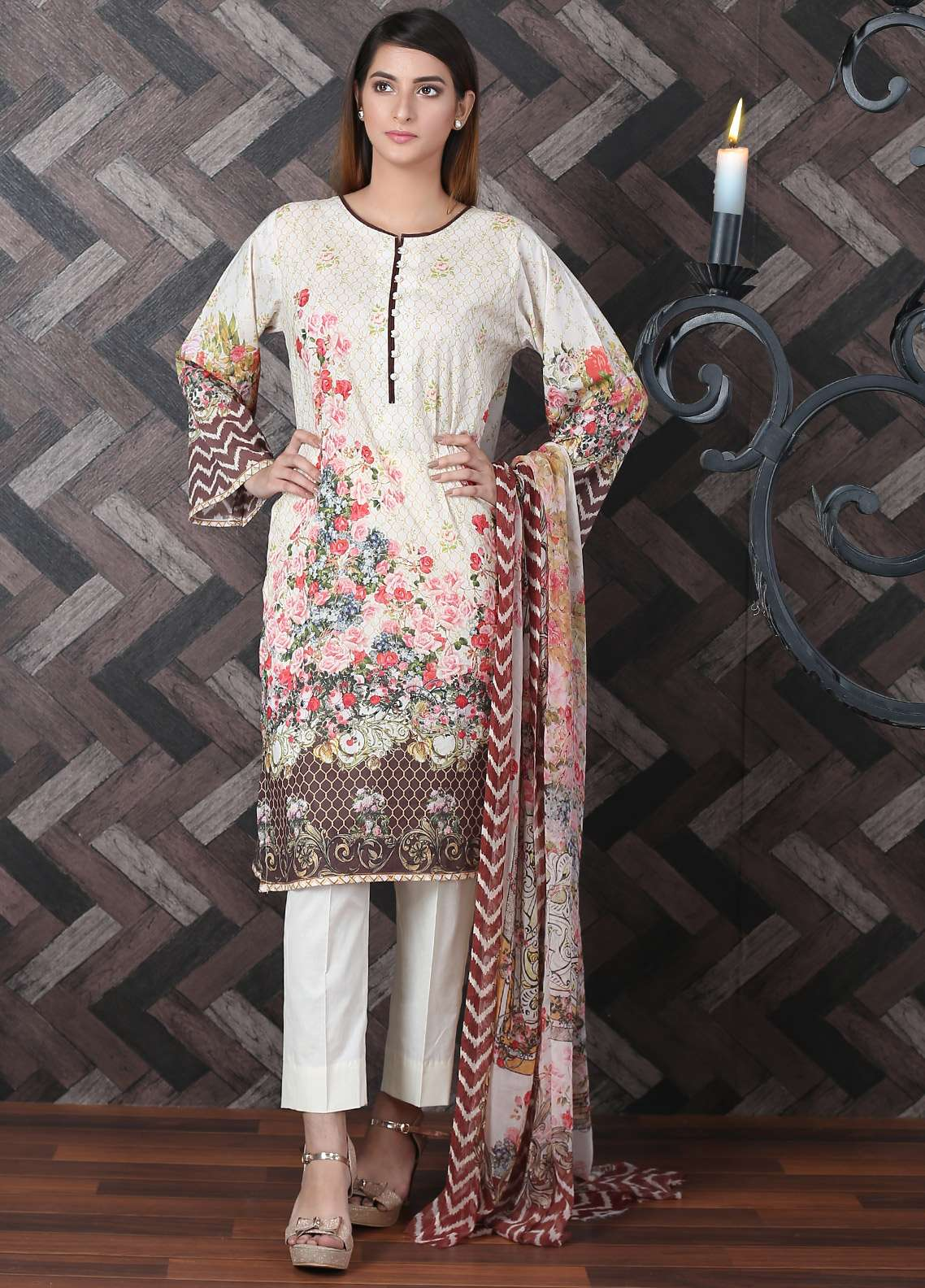 Waniya Printed Lawn Unstitched 2 Piece Suit UNS-179 - Spring / Summer Collection