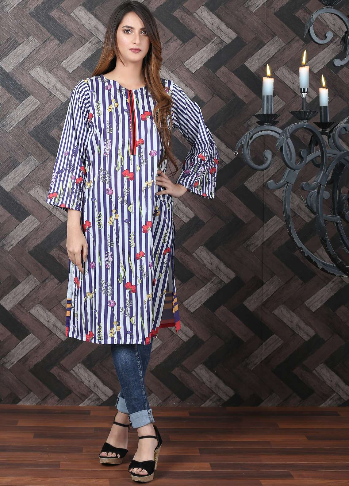 Waniya Printed Lawn Unstitched Kurties UNS-181 - Spring / Summer Collection