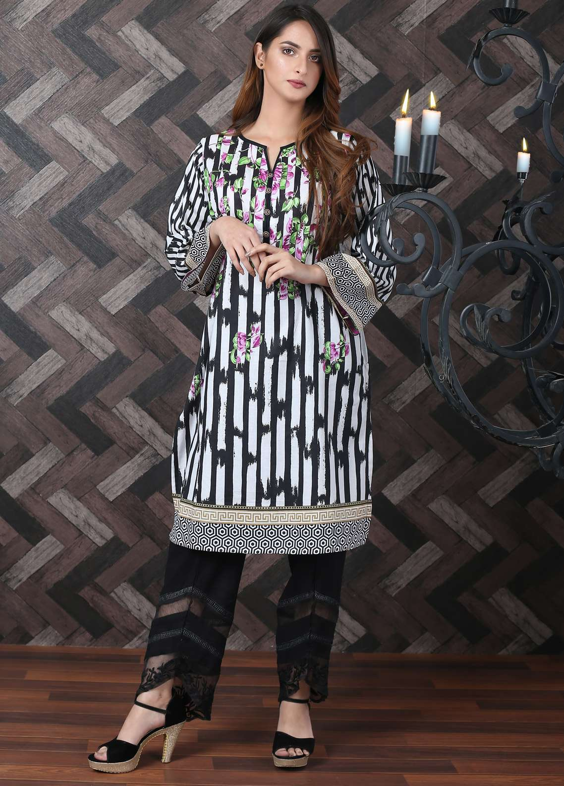 Waniya Printed Lawn Unstitched Kurties UNS-182 - Spring / Summer Collection