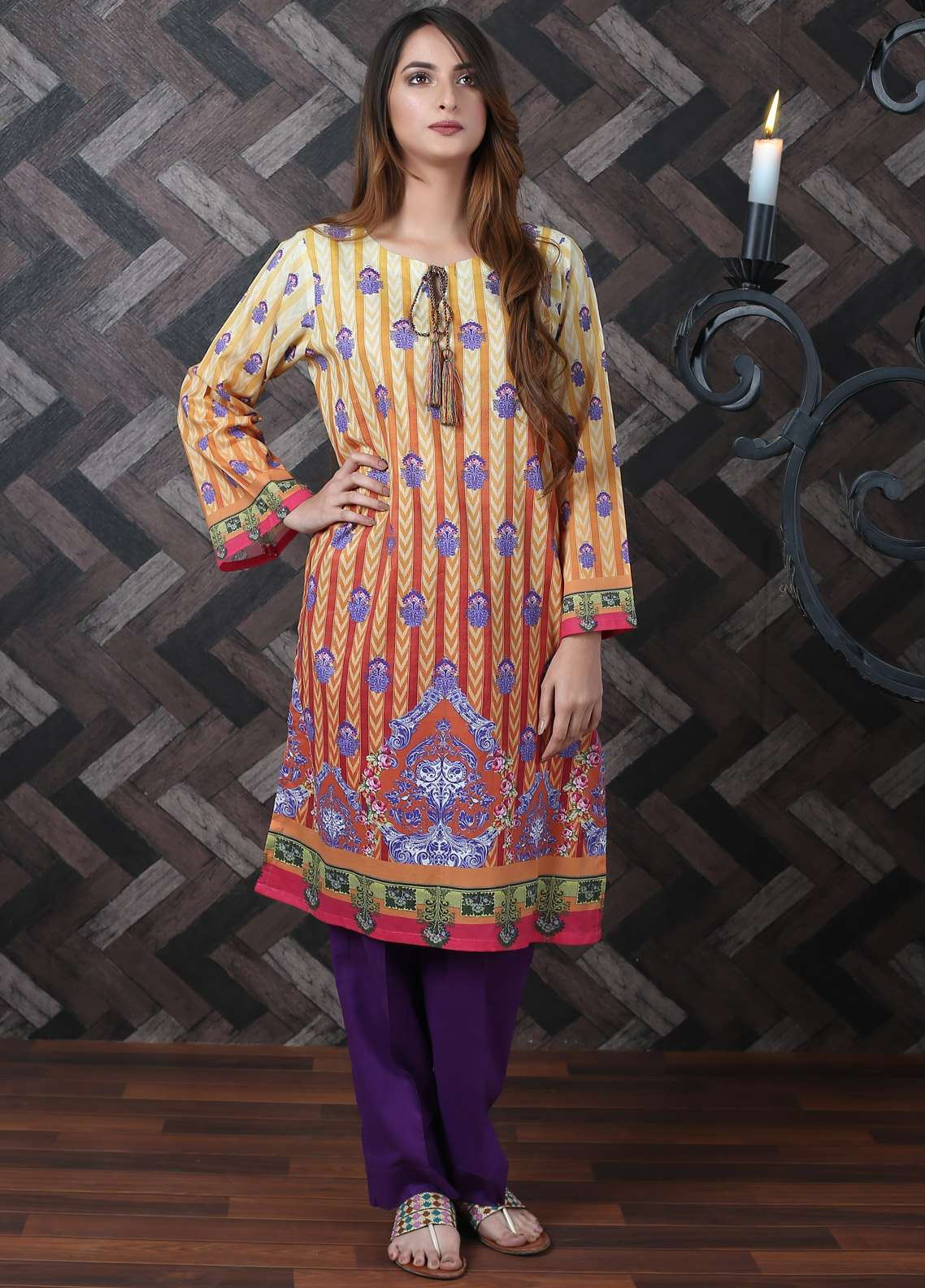 Waniya Printed Lawn Unstitched Kurties UNS-183 - Spring / Summer Collection