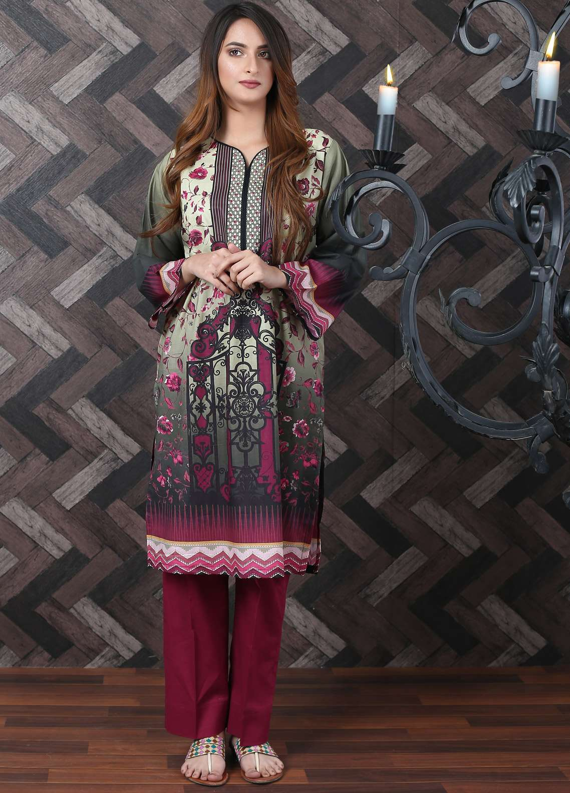 Waniya Printed Lawn Unstitched Kurties UNS-185 - Spring / Summer Collection