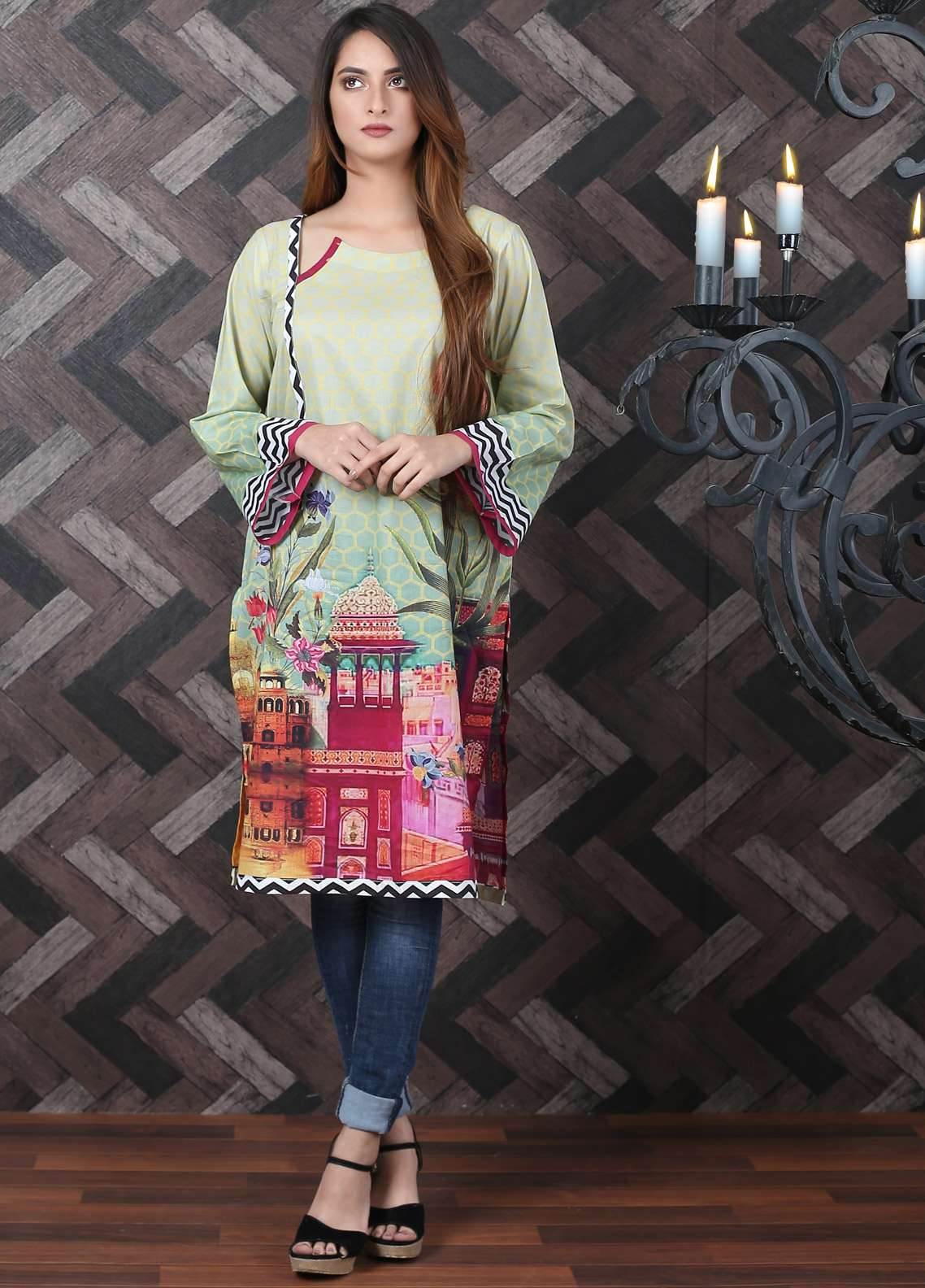 Waniya Printed Lawn Unstitched Kurties UNS-186 - Spring / Summer Collection