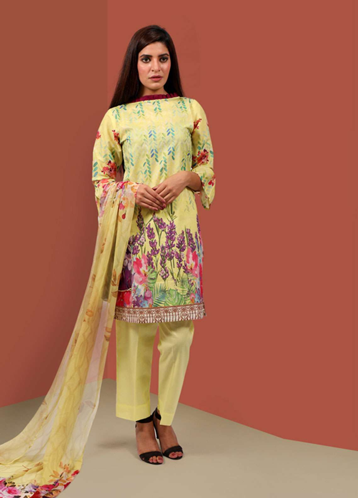 Waniya Printed Cambric Unstitched 2 Piece Suit UNS-049 FLORAL YELLOW - Summer Collection
