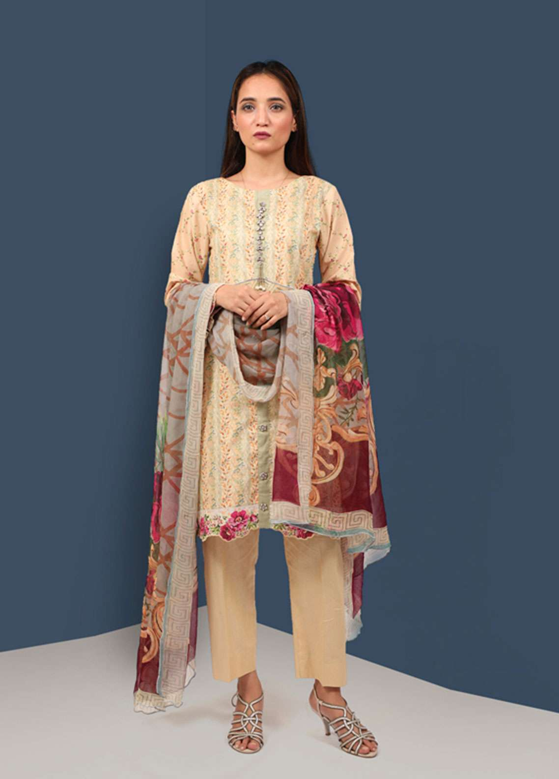 Waniya Printed Cotton Unstitched 2 Piece Suit UNS-050 FLORAL CREAM - Summer Collection