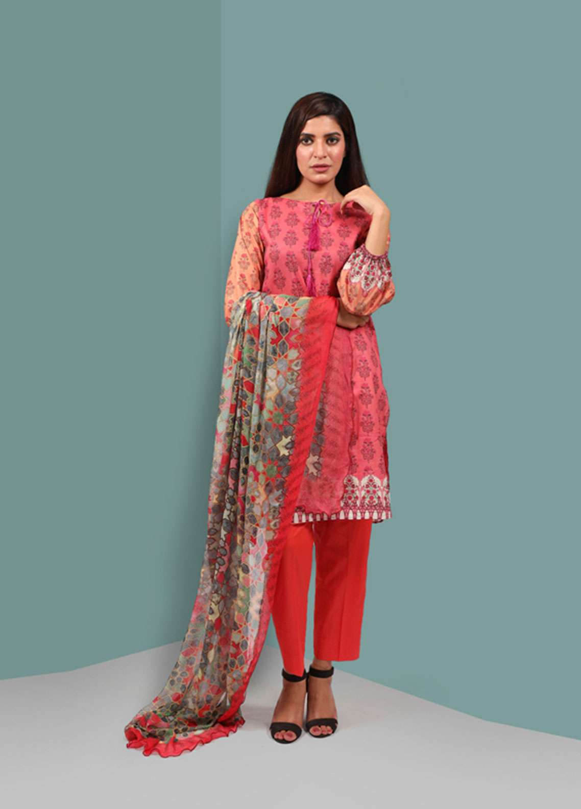 Waniya Printed Cambric Unstitched 2 Piece Suit UNS-051 RED AND ORANGE - Summer Collection