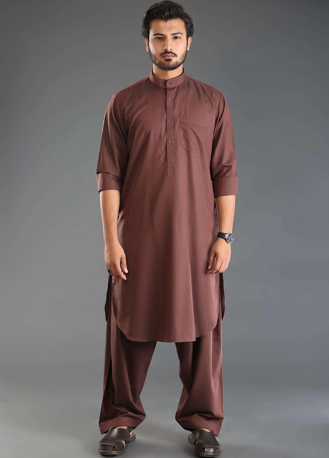 Sanaulla Exclusive Range Wash N Wear Formal Kameez Shalwar for Men - Maroon SKS18W 01