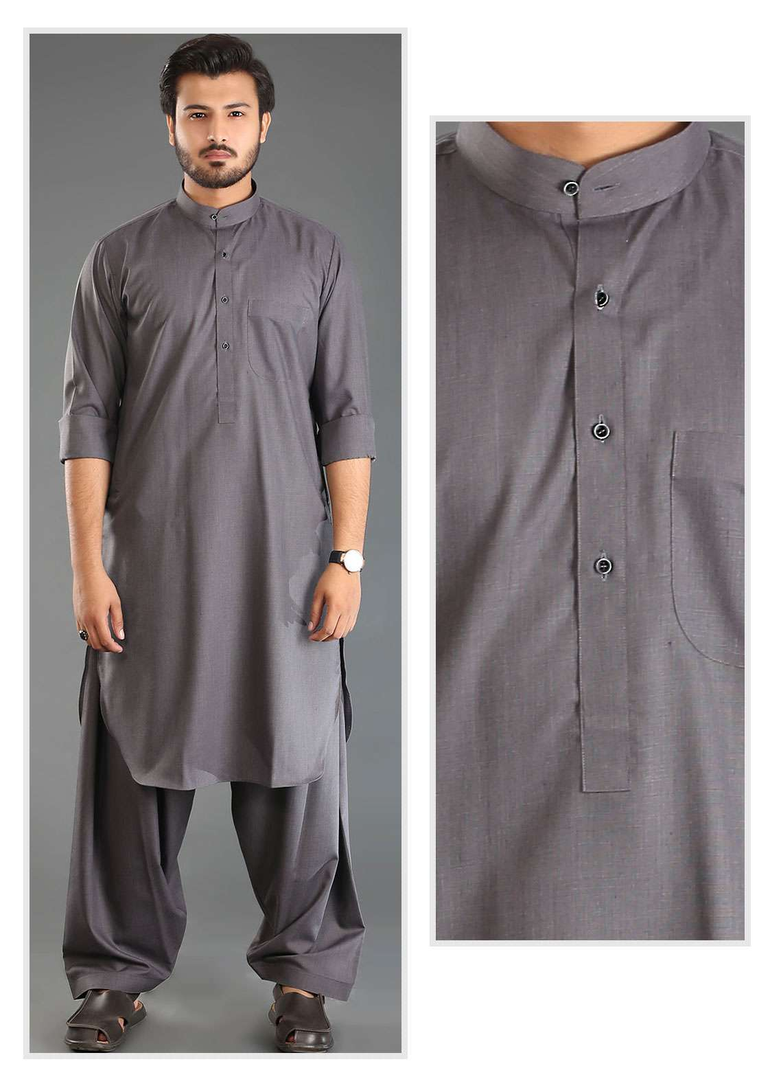 Sanaulla Exclusive Range Wash N Wear Formal Men Kameez Shalwar - Grey SKS18W 02