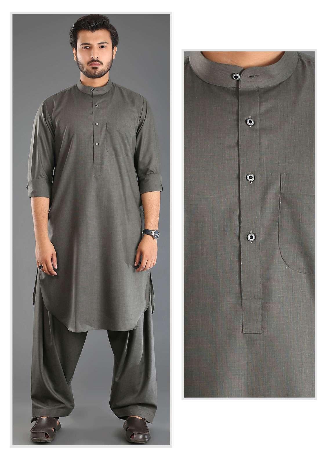 Sanaulla Exclusive Range Wash N Wear Formal Men Kameez Shalwar - Grey SKS18W 04