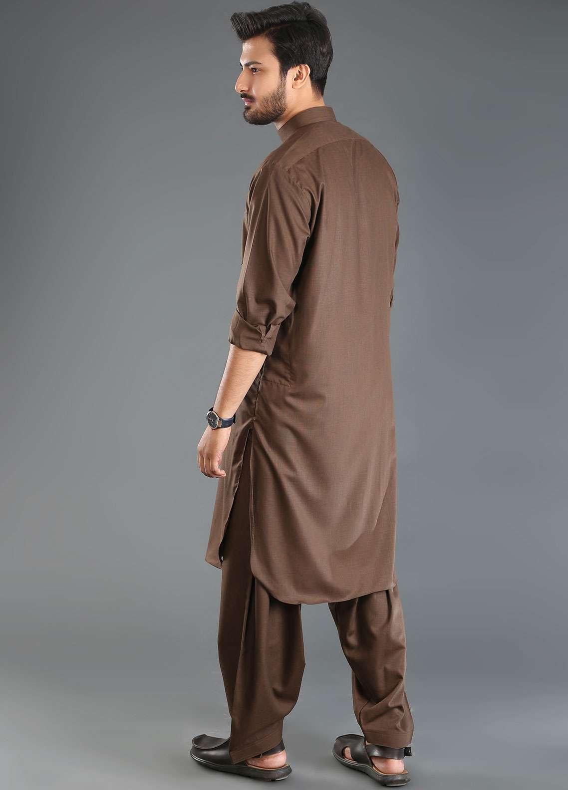 Sanaulla Exclusive Range Wash N Wear Formal Men Kameez Shalwar - Brown SKS18W 06