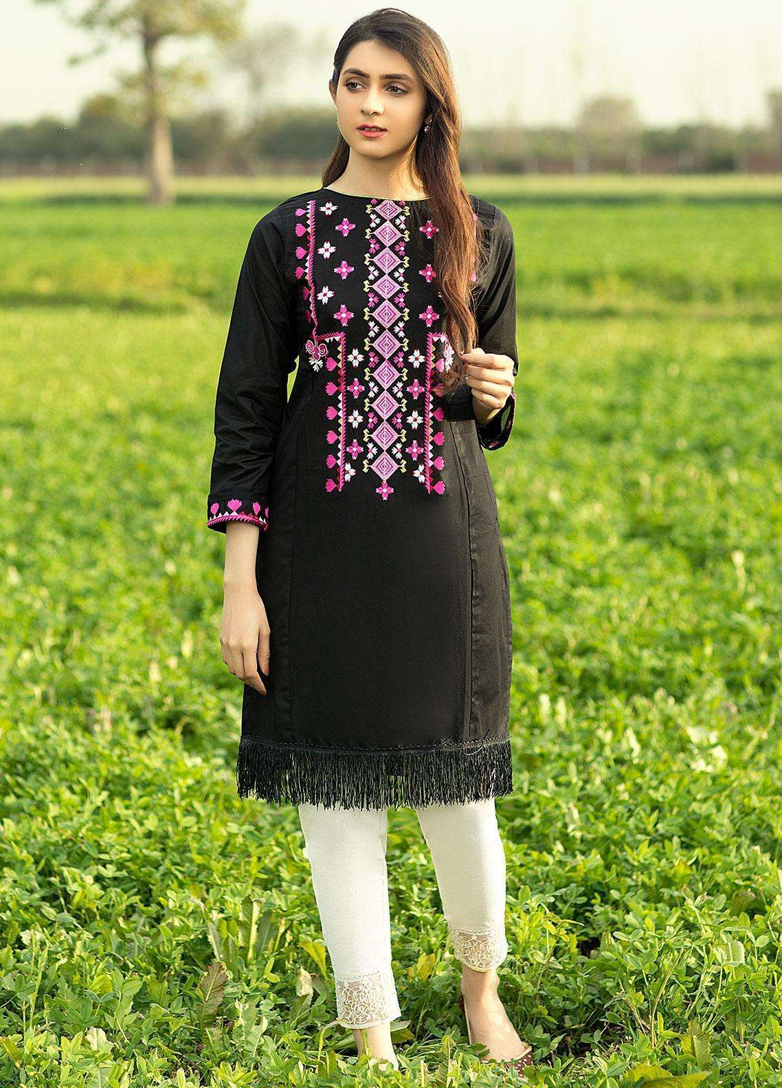 Festive Embroidered Cotton Net Stitched Kurtis F19SE117 Black