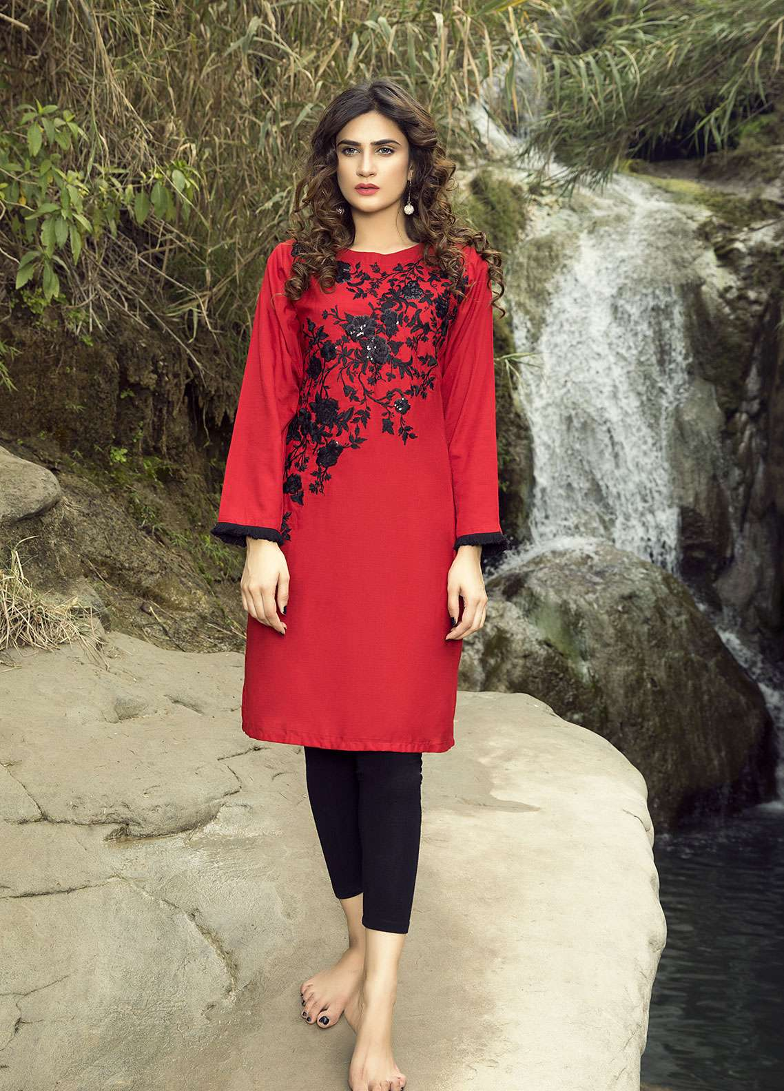 Festive Embroidered Cotton Net Stitched Kurtis F19SE117 Red