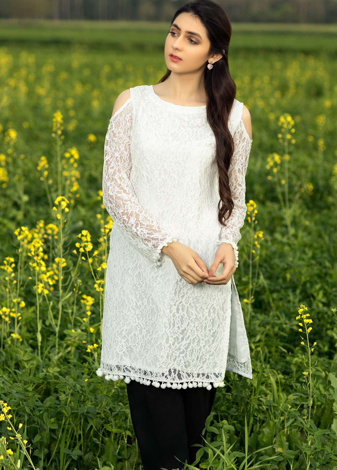 Festive Embroidered Cotton Net Stitched Kurtis F19SE126 White