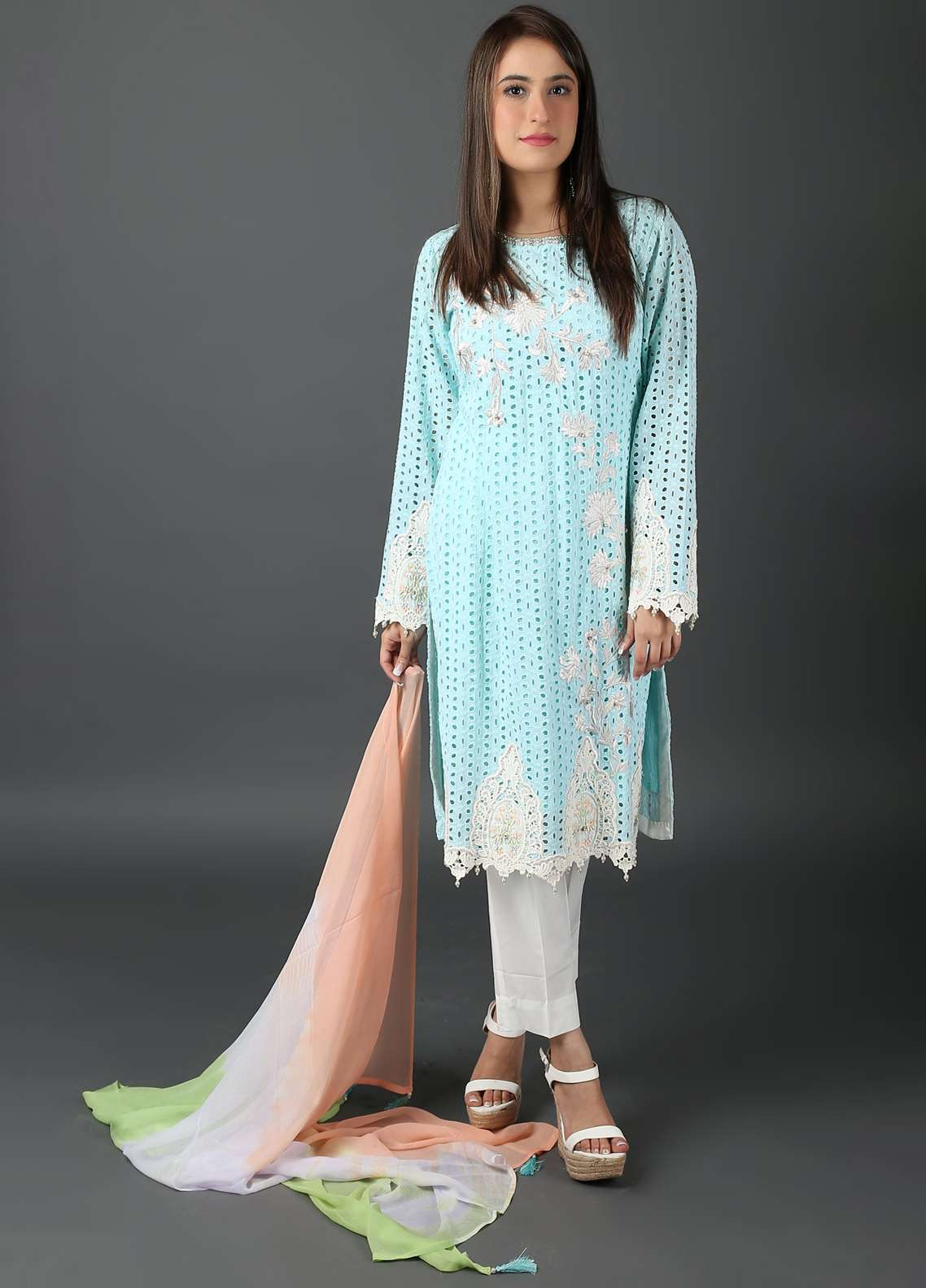 Kashish Embroidered Cotton Net Stitched 3 Piece Suit KSH19P 5280 Green