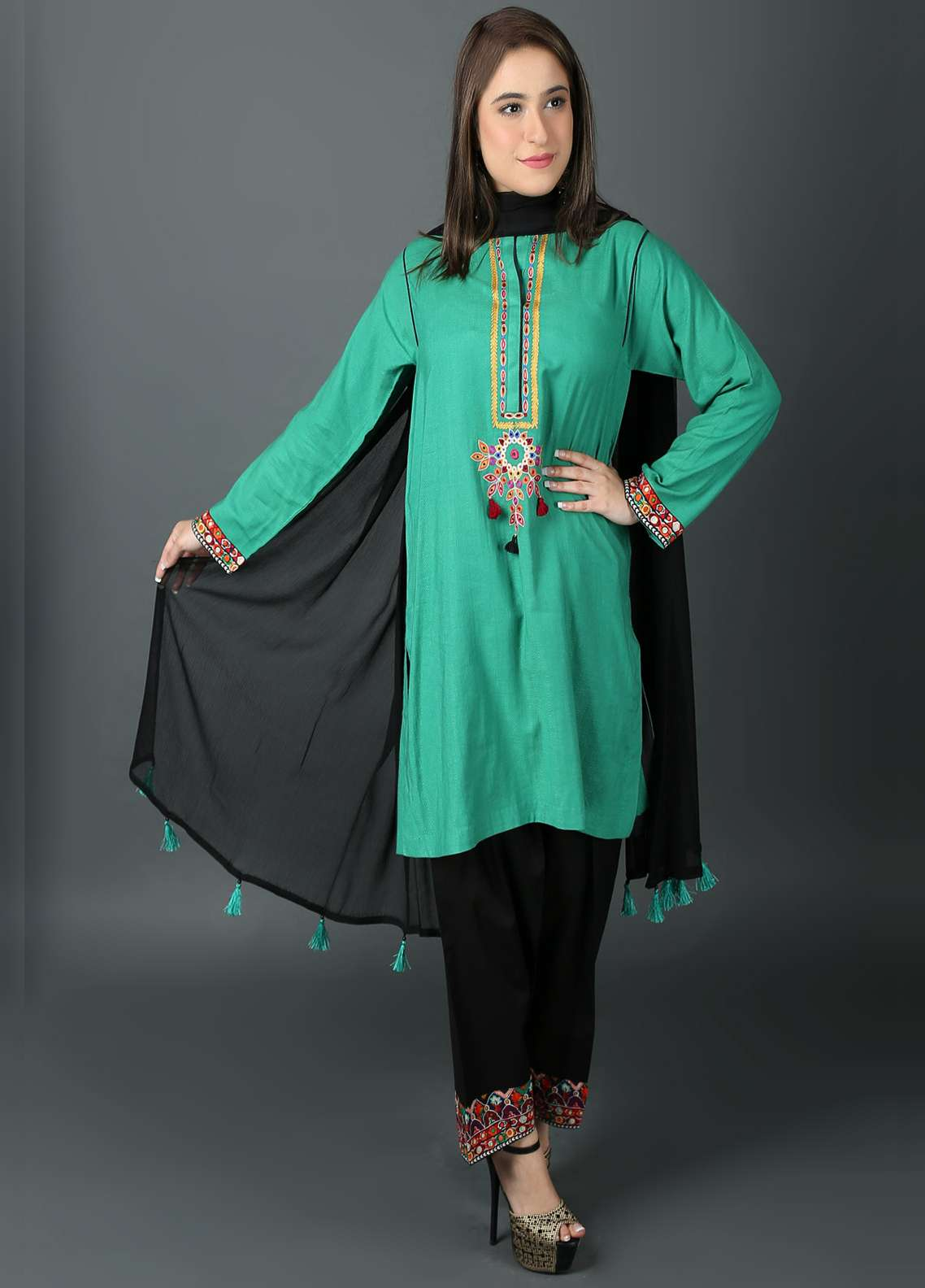Kashish Embroidered Cotton Net Stitched 3 Piece Suit KSH19P 5396 Green