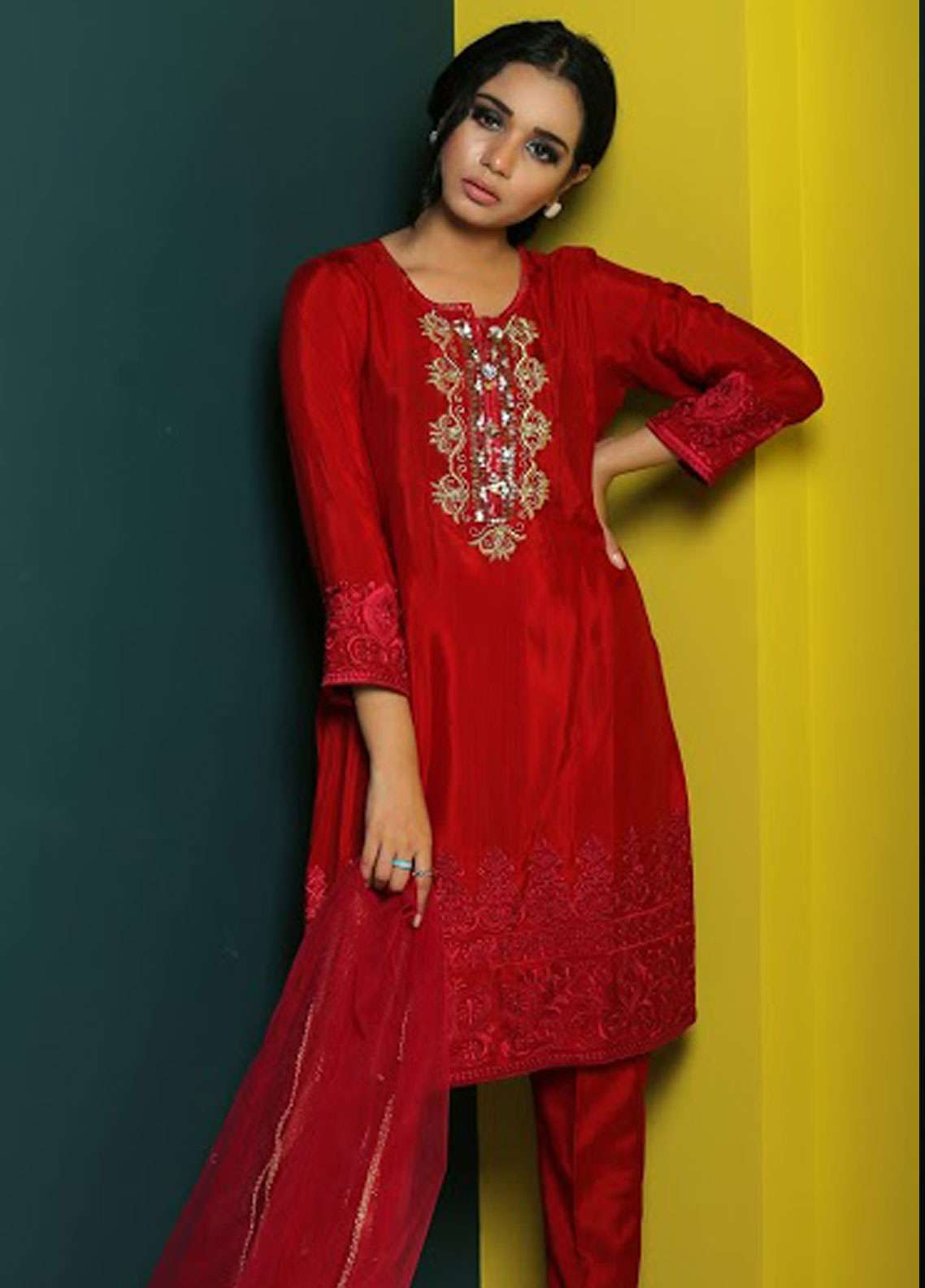 Asma Emran Embroidered Chiffon Stitched 3 Piece Suit EP-010 Stealing Hearts