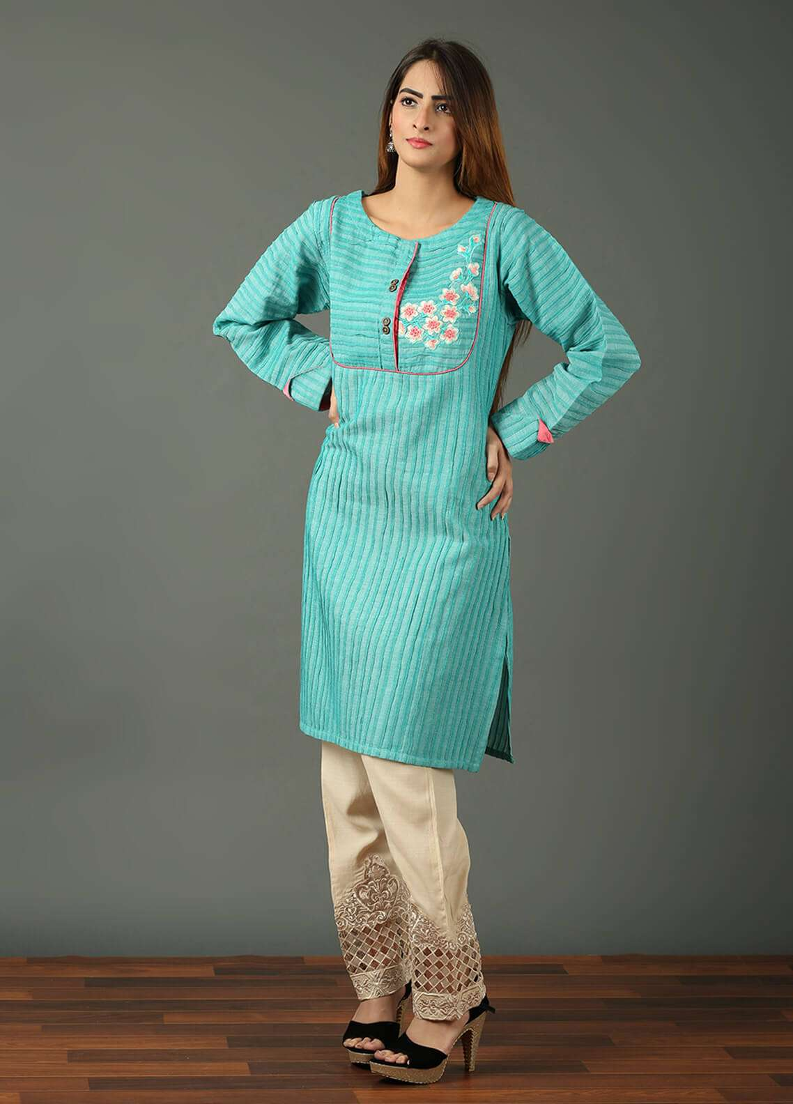 Festive Embroidered Khaddar Stitched Kurtis F19WE105 Turquoise