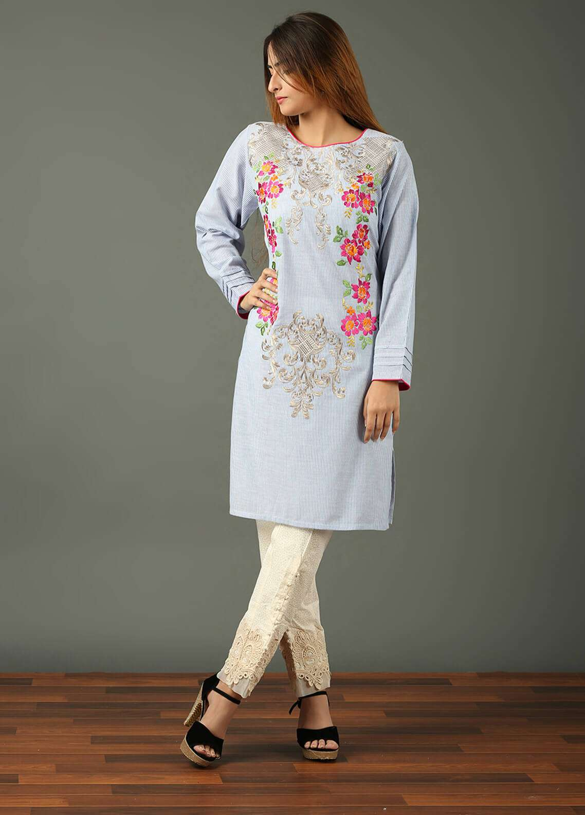 Festive Embroidered Khaddar Stitched Kurtis F19WE106 Blue