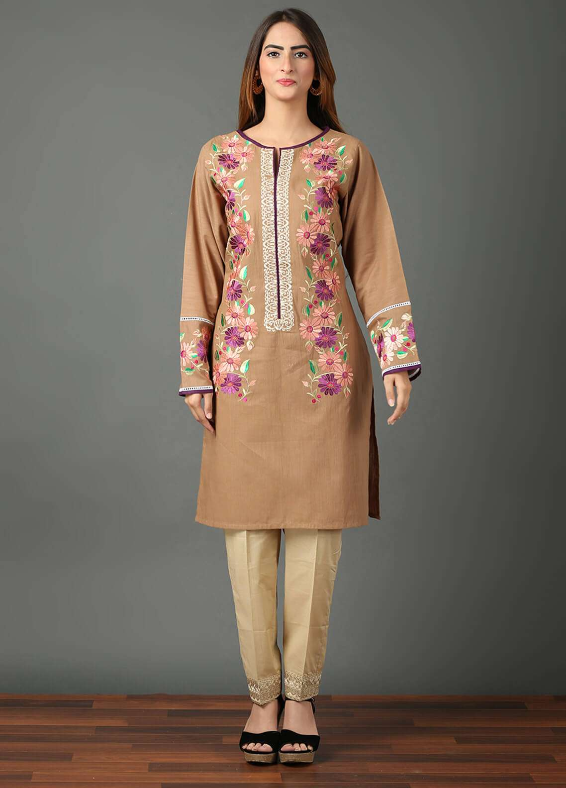 Festive Embroidered Khaddar Stitched Kurtis F19WE107 Light Brown