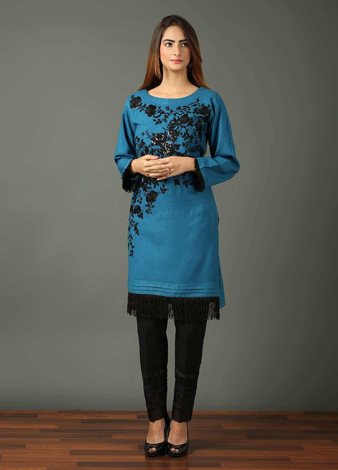 Festive Embroidered Khaddar Stitched Kurtis BLUE DREAMS