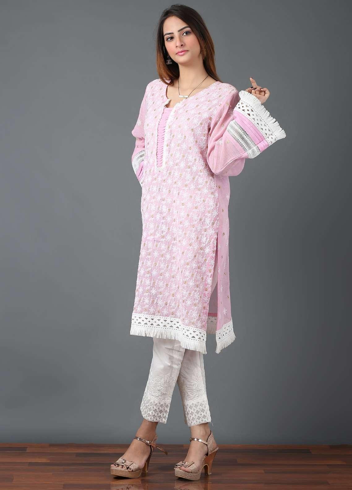 Pearl Closet Embroidered Cotton Net Stitched Kurtis Chicken Kari EK001 Baby Pink