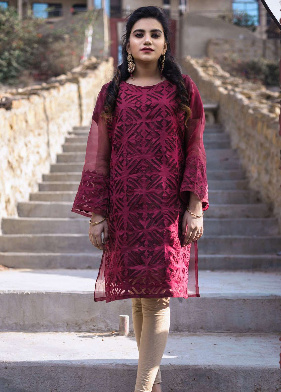 Laali Embroidered Organza Stitched Kurtis Lal-018