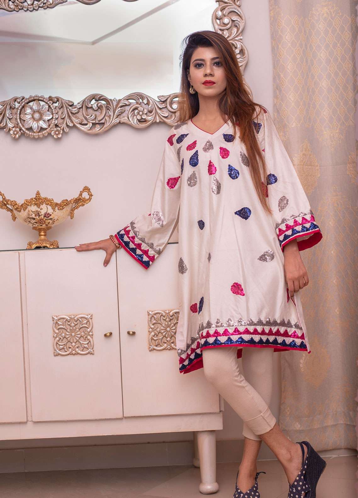 Laali Embroidered Cotton Silk Stitched Kurtis Lal-023