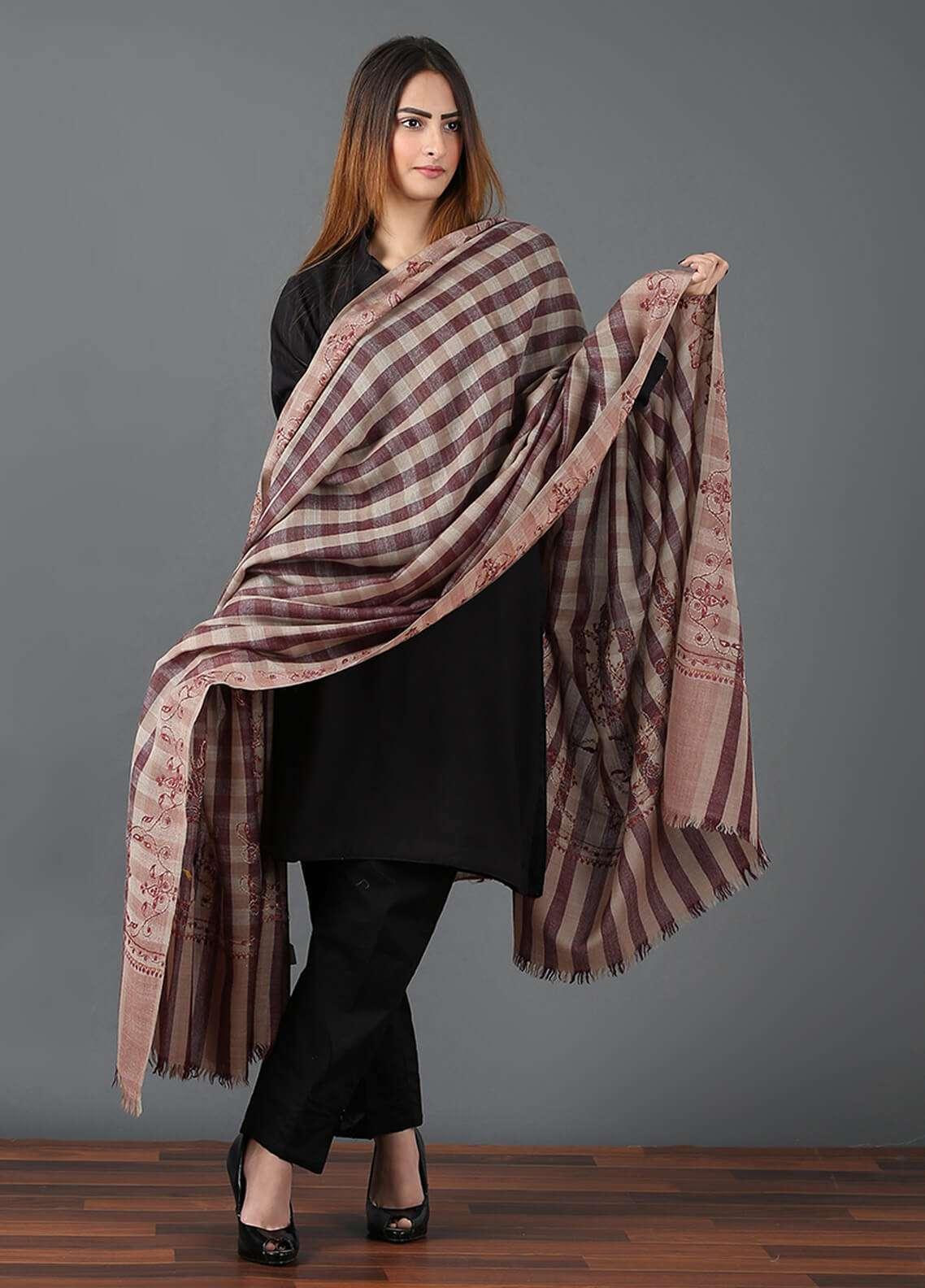 Sanaulla Exclusive Range  Pashmina Embroidered Shawl 639 - Kashmiri Shawls
