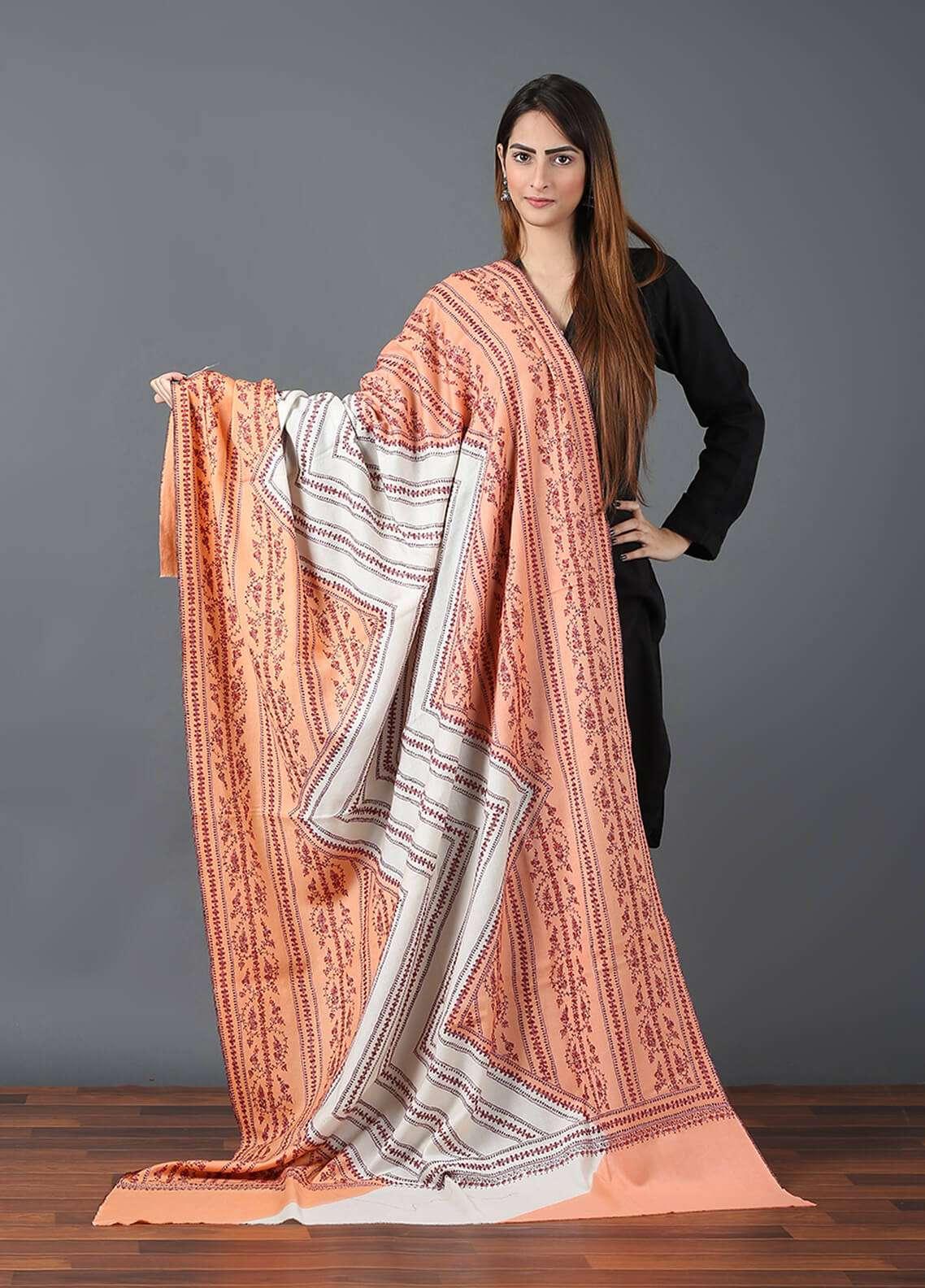Sanaulla Exclusive Range Pashmina Embroidered Shawl 644 - Kashmiri Shawls