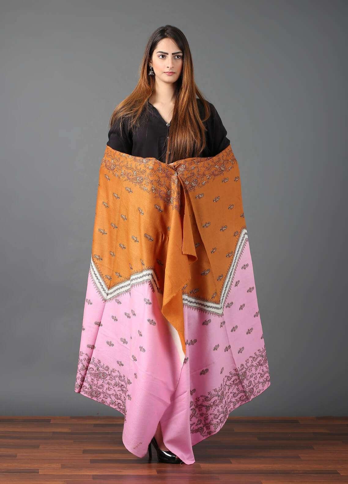 Sanaulla Exclusive Range  Pashmina Embroidered Shawl 645 - Kashmiri Shawls