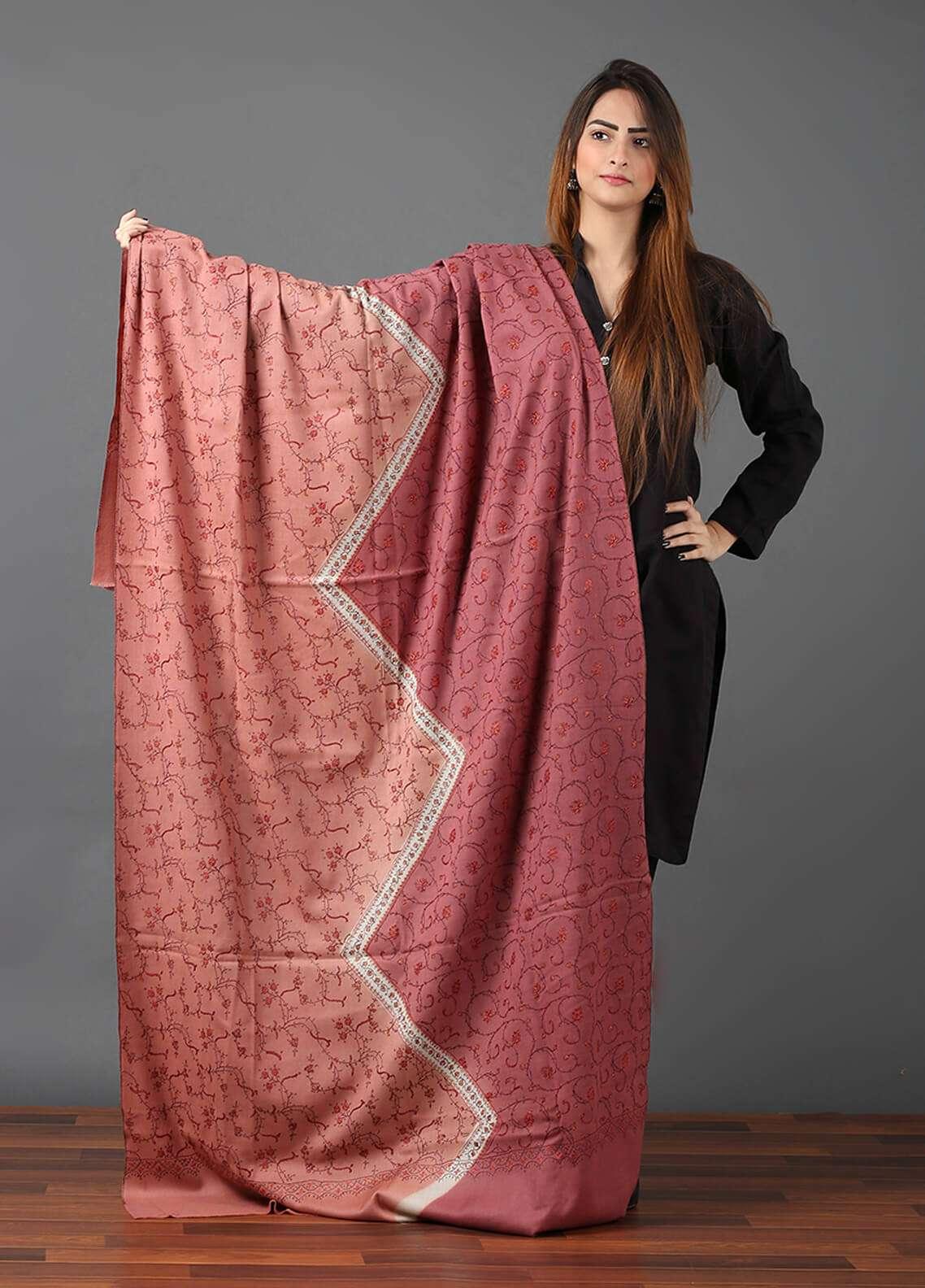 Sanaulla Exclusive Range Pashmina Embroidered Shawl 648 - Kashmiri Shawls