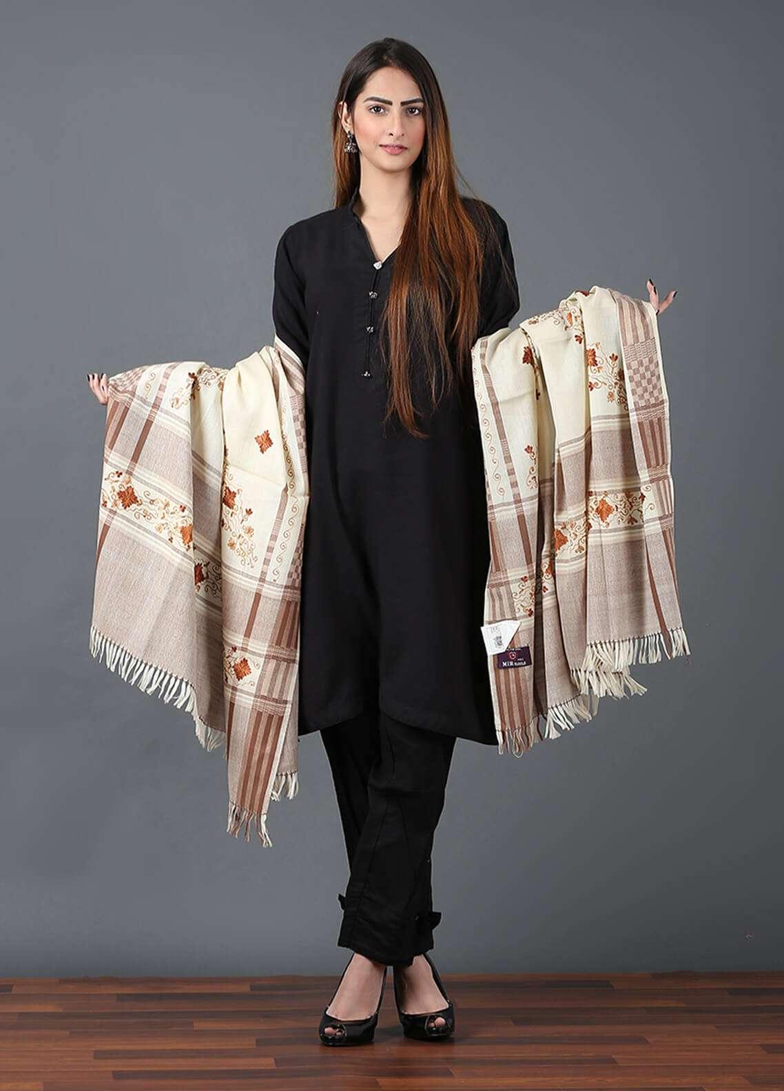 Sanaulla Exclusive Range  Pashmina Embroidered Shawl 650 - Kashmiri Shawls