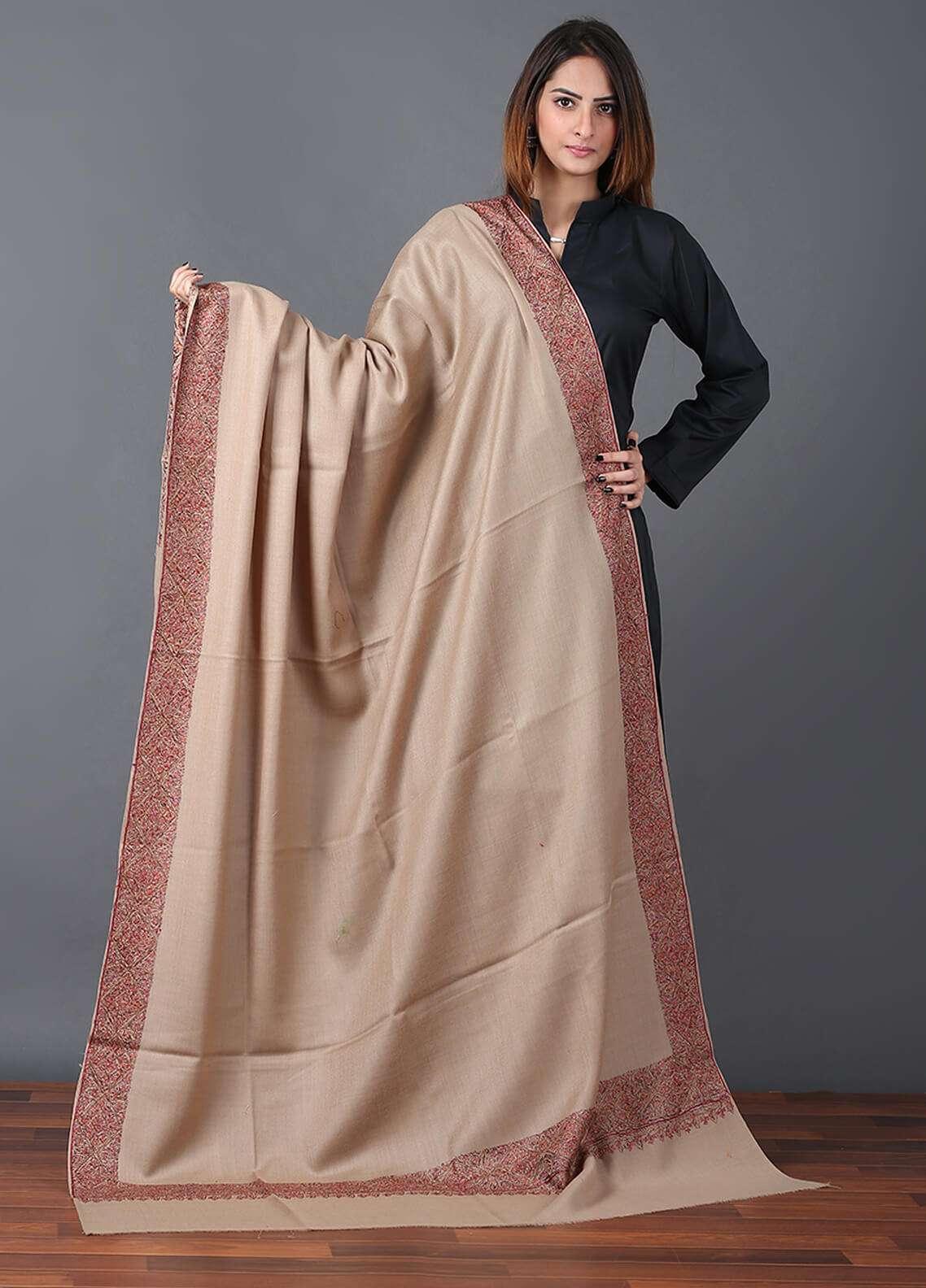 Sanaulla Exclusive Range Pashmina Embroidered Shawl 669 - Kashmiri Shawls