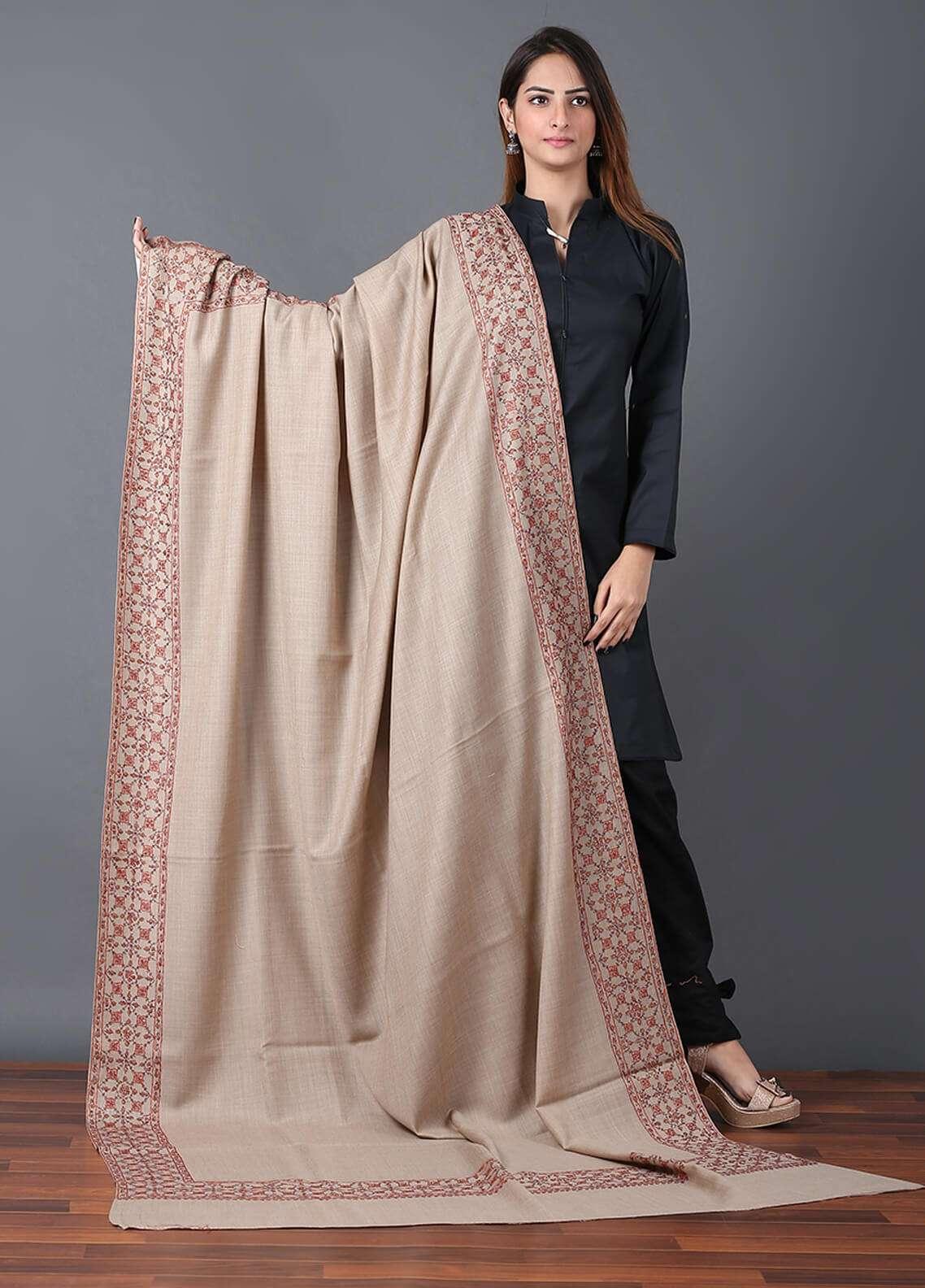 Sanaulla Exclusive Range Pashmina Embroidered Shawl 671 - Kashmiri Shawls