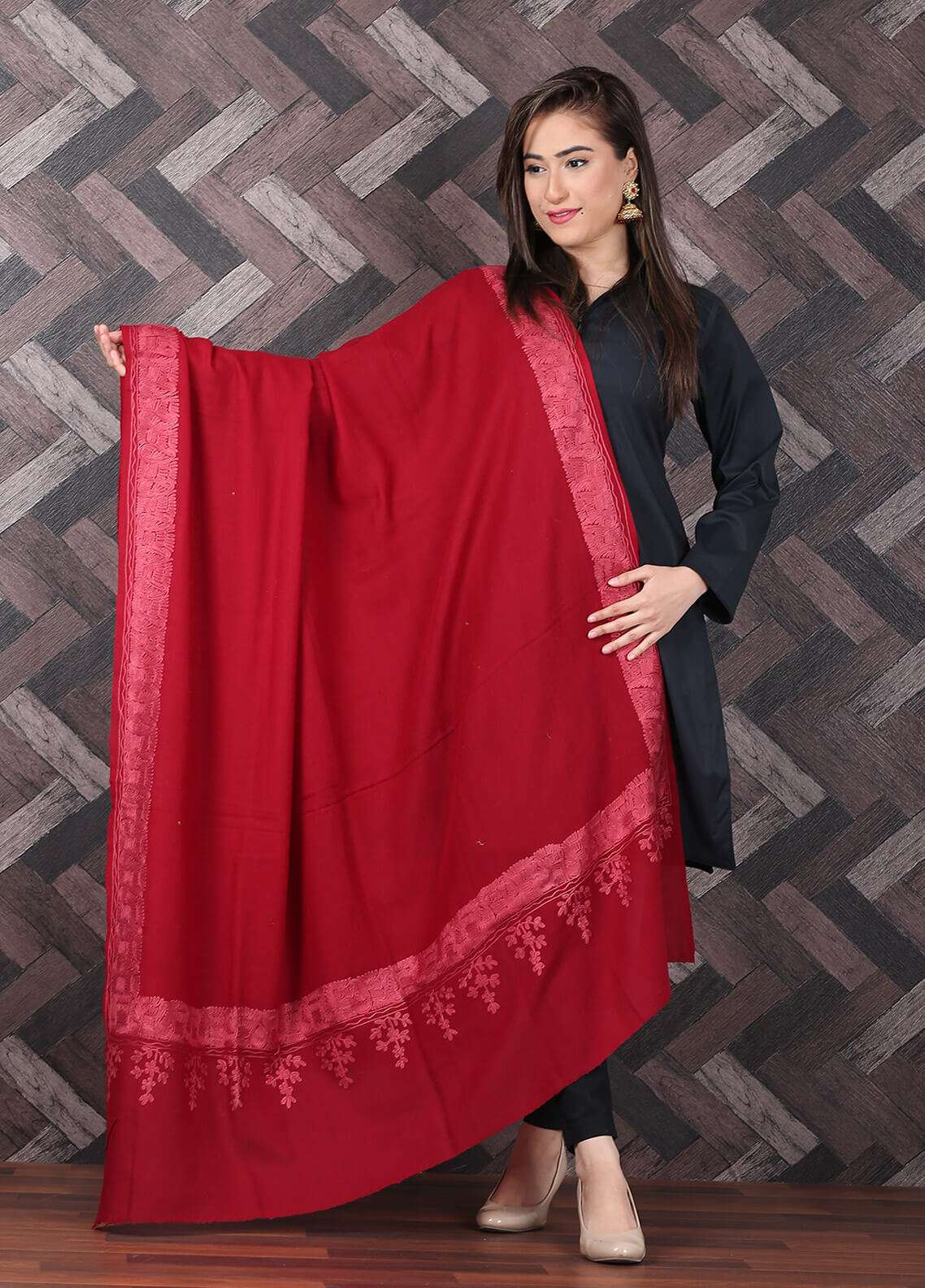 Sanaulla Exclusive Range  Pashmina Embroidered Shawl 702 - Kashmiri Shawls