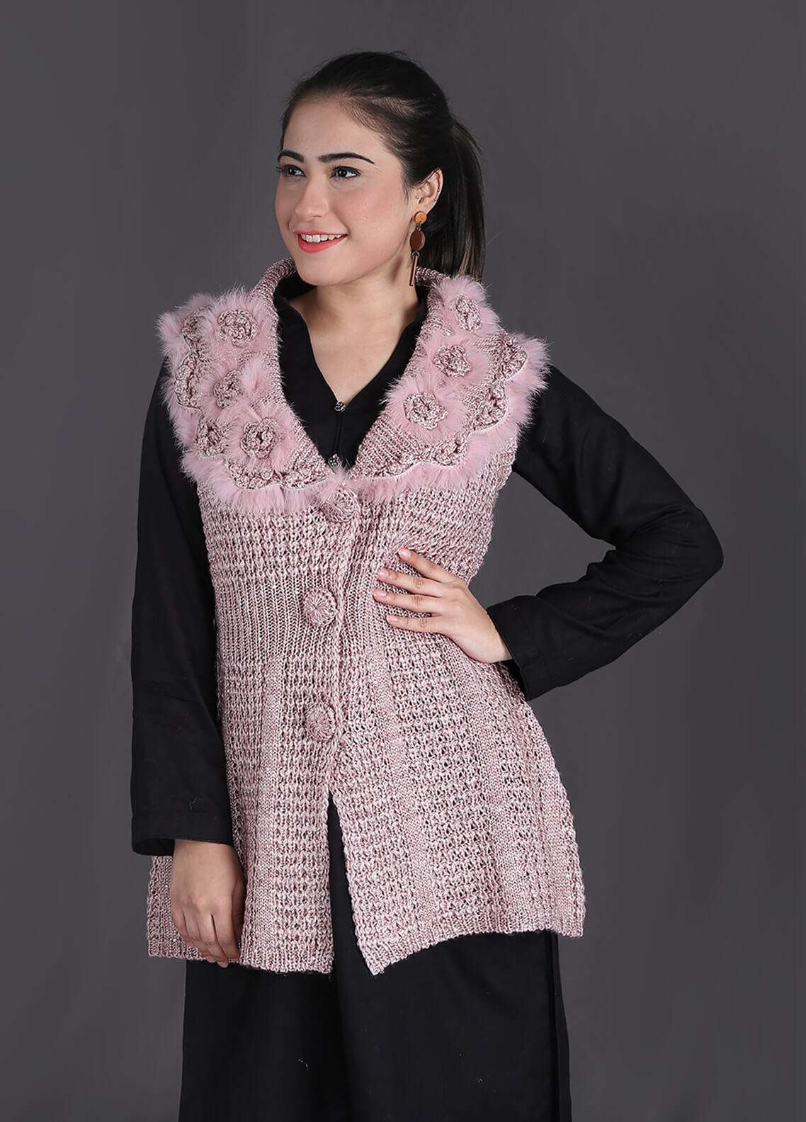 Sanaulla Exclusive Range Textured Woollen Free Size Sweaters SA18S 27 - Winter Collection