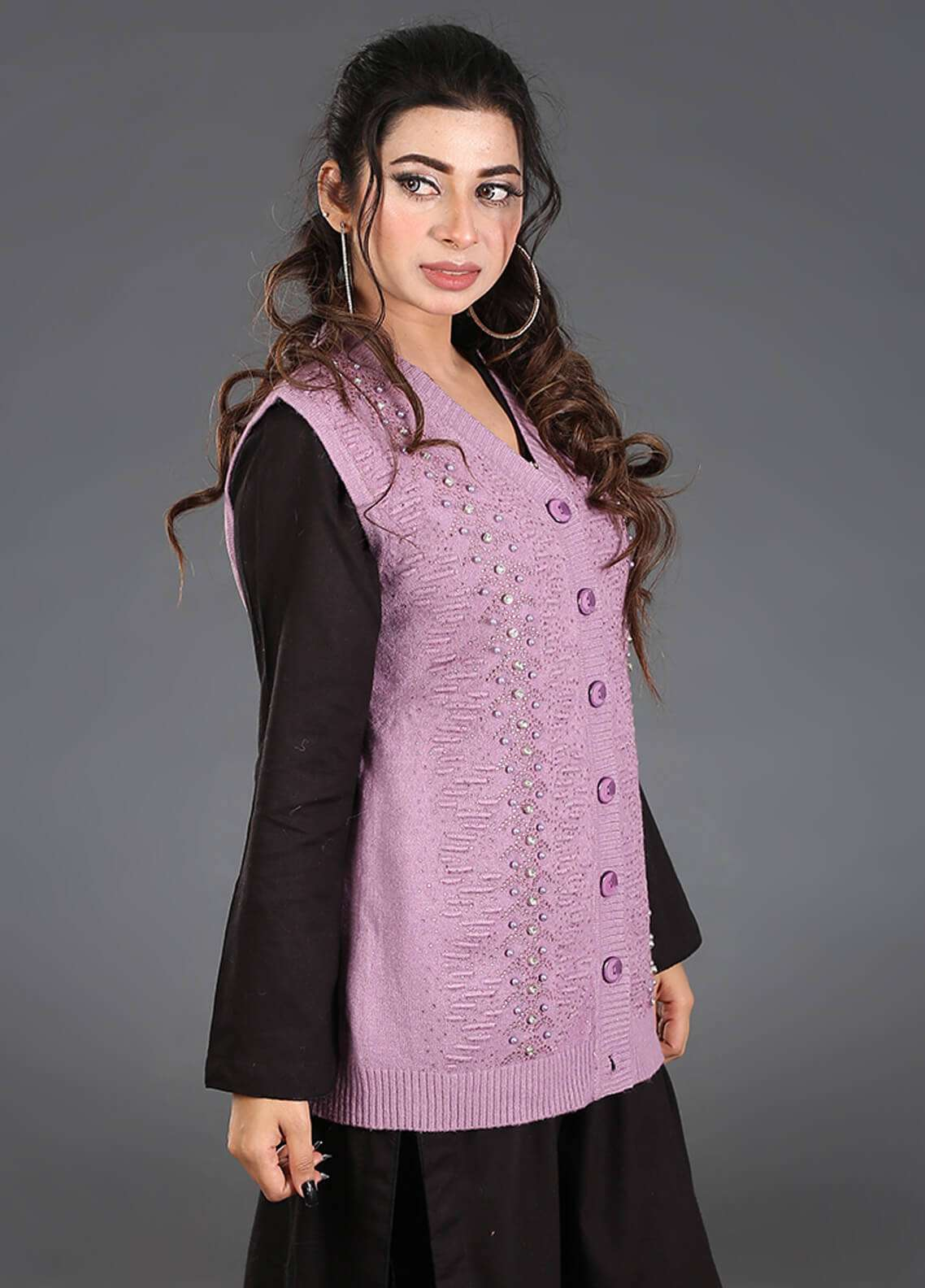 Sanaulla Exclusive Range Textured Acrylic Free Size Sweaters SA18S 32 - Winter Collection