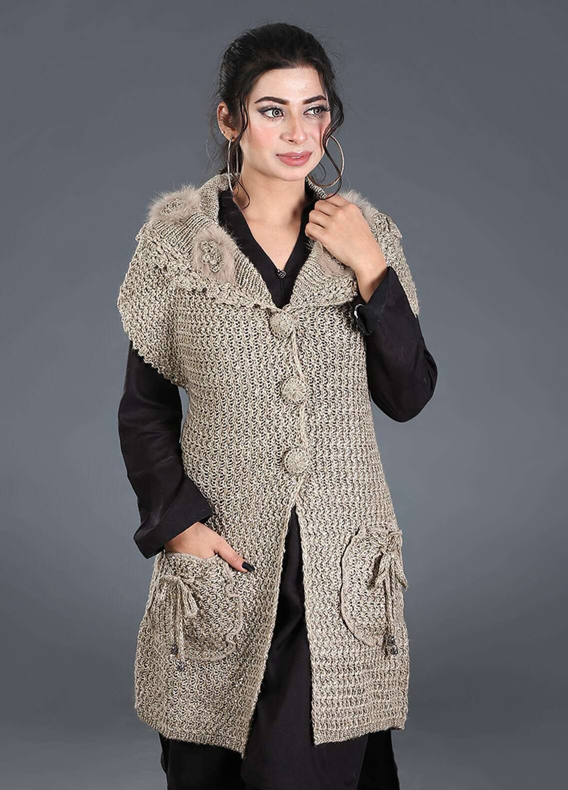 Sanaulla Exclusive Range Textured Acrylic Free Size Sweaters SA18S 43 - Winter Collection