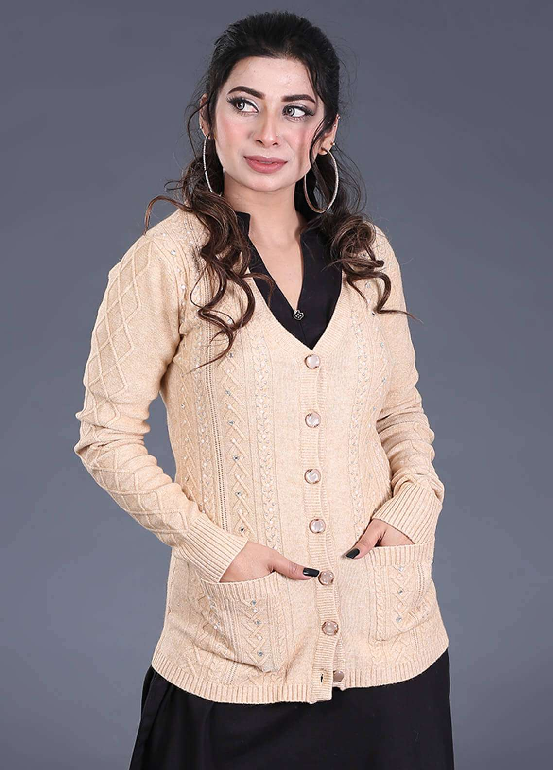 Sanaulla Exclusive Range Textured Acrylic Free Size Sweaters SA18S 44 - Winter Collection