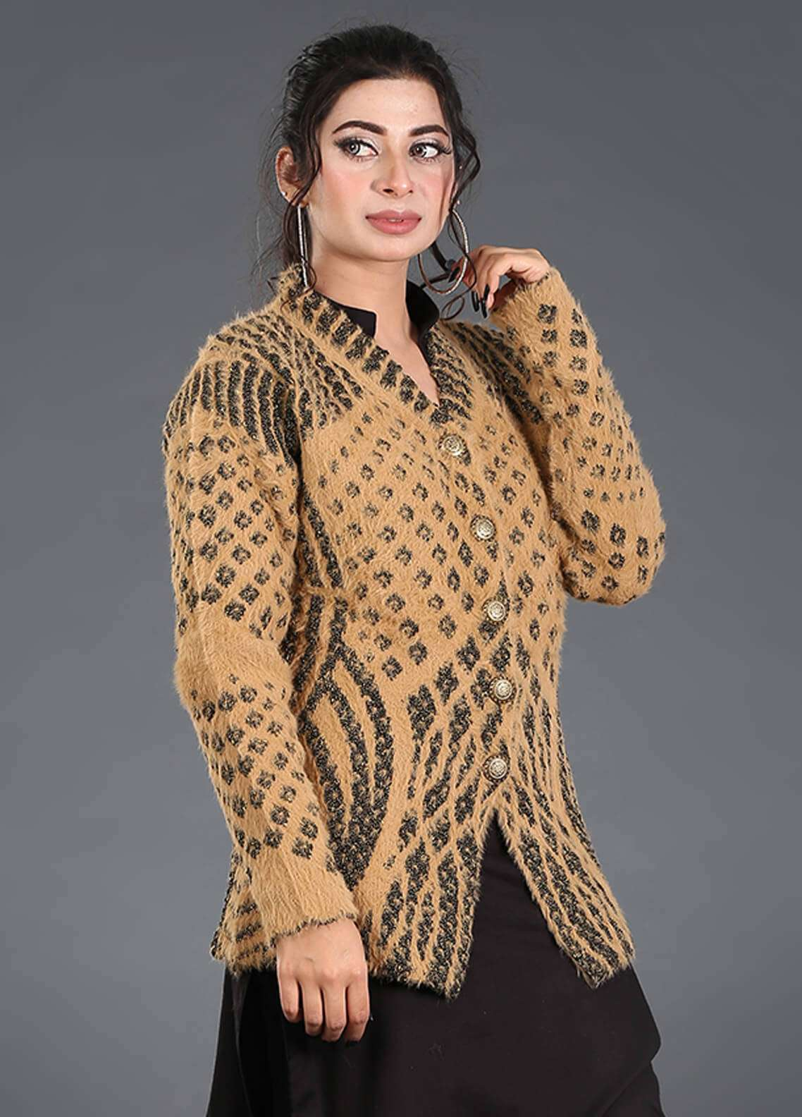 Sanaulla Exclusive Range Textured Acrylic Free Size Sweaters SA18S 46 - Winter Collection
