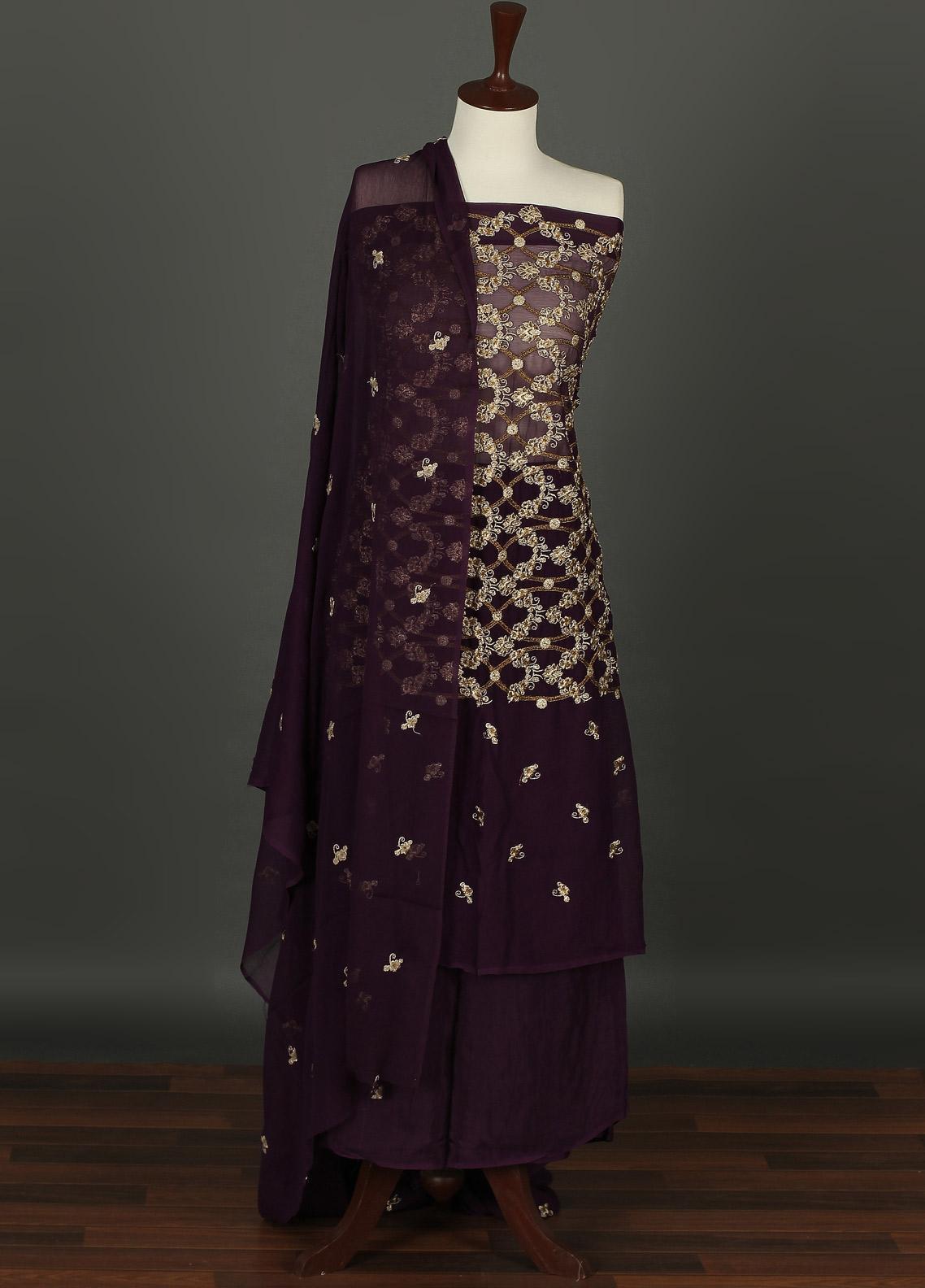 Sanaulla Exclusive Range Embroidered Chiffon Unstitched 3 Piece Suit SER19C 05 Purple - Luxury Collection
