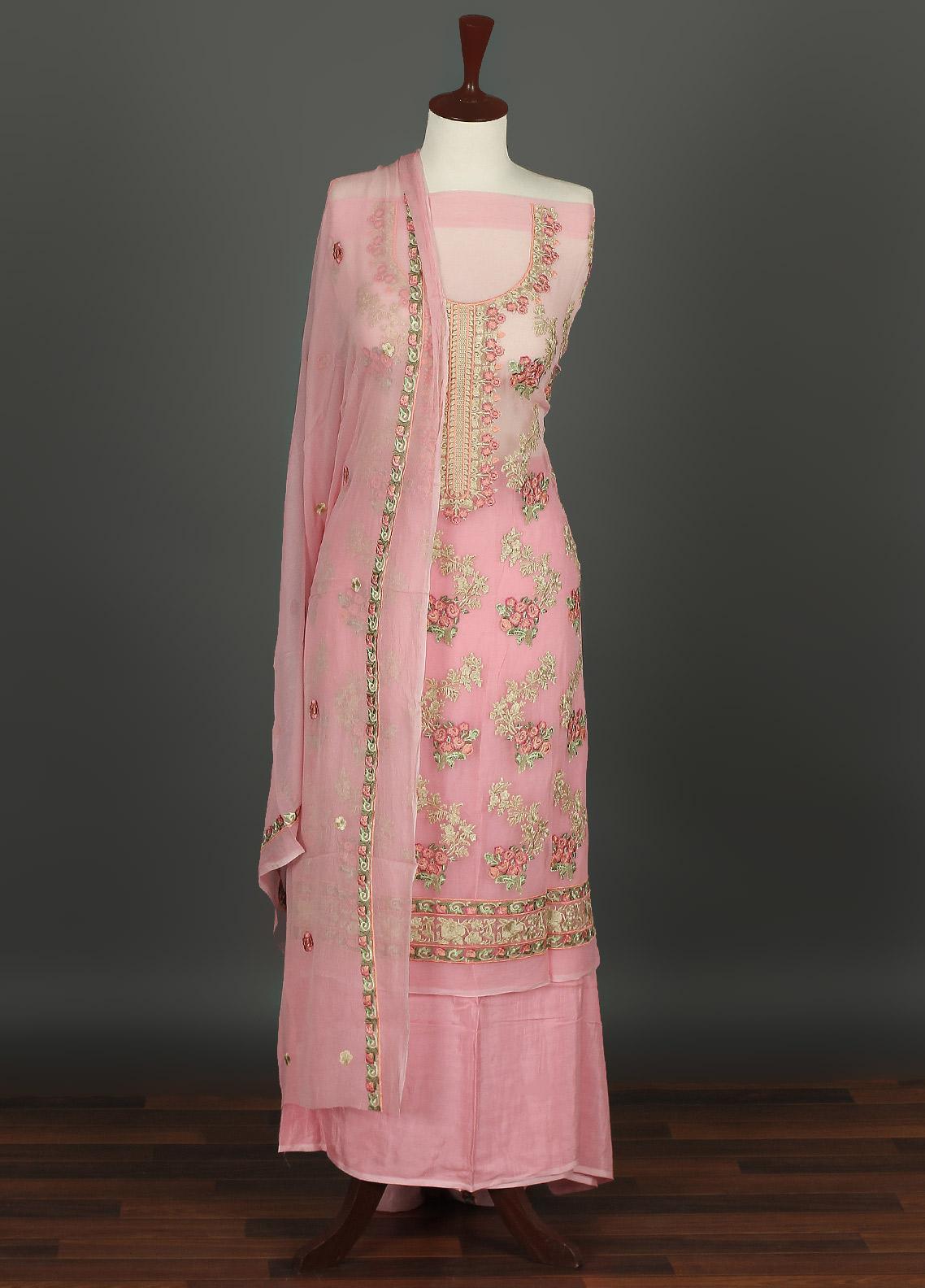Sanaulla Exclusive Range Embroidered Chiffon Unstitched 3 Piece Suit SER19C 06 Pink - Luxury Collection