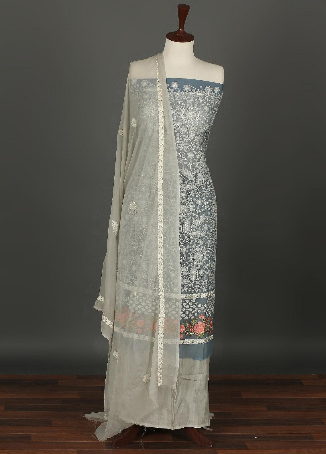 Sanaulla Exclusive Range Embroidered Chiffon Unstitched 3 Piece Suit SER19C 10 Blue - Luxury Collection