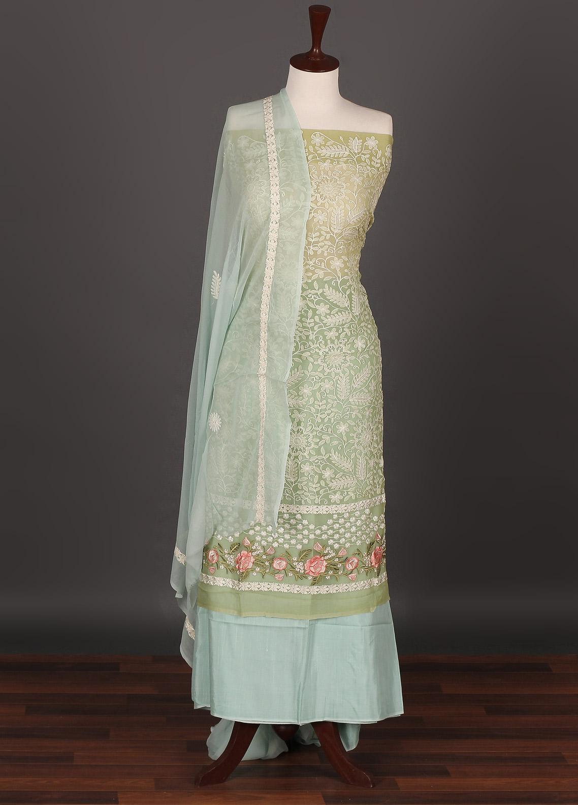 Sanaulla Exclusive Range Embroidered Chiffon Unstitched 3 Piece Suit SER19C 10 Green - Luxury Collection