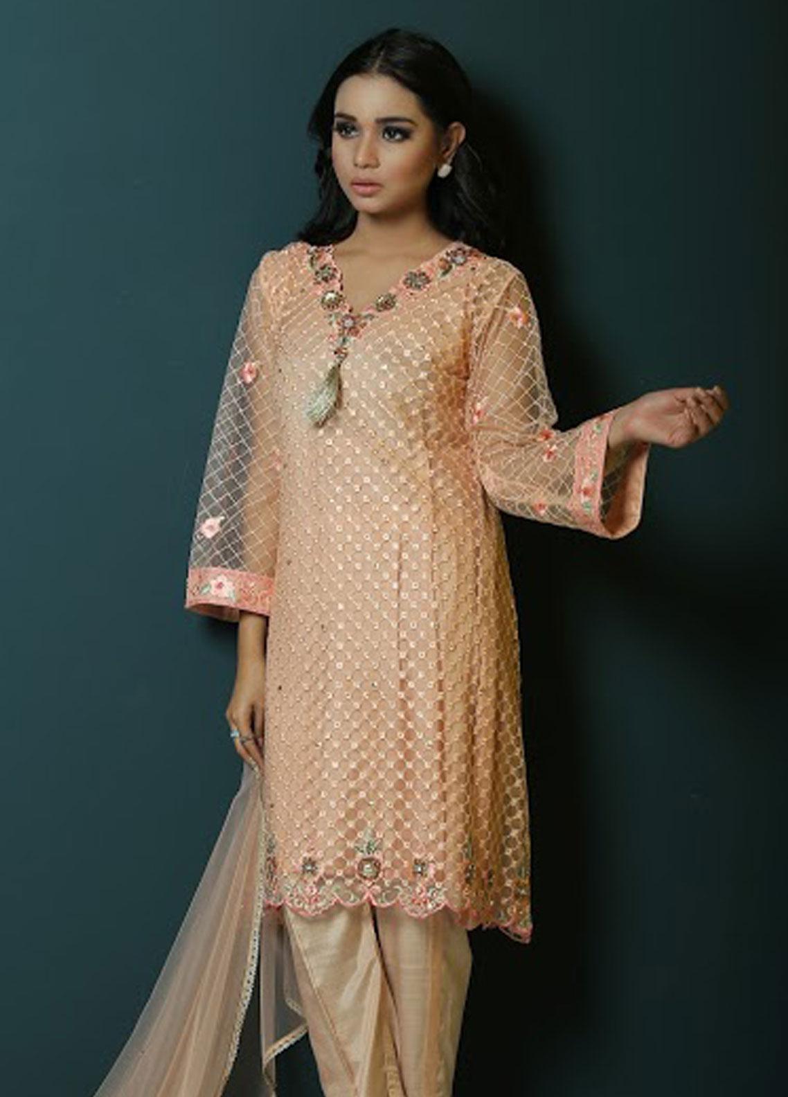 Asma Emran Embroidered Zari Net Stitched 3 Piece Suit EP-001 Pastel Punch Campenella